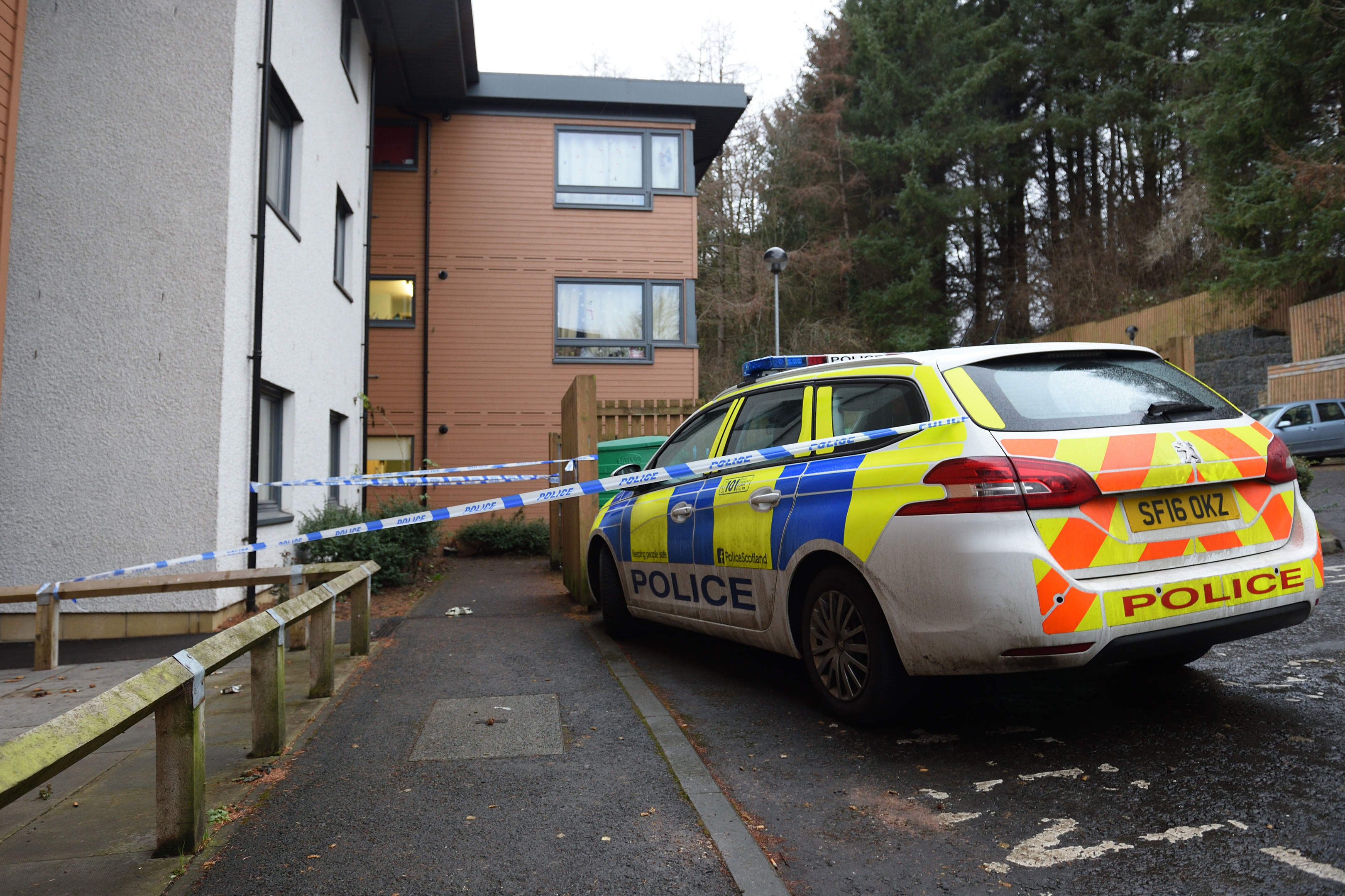 The taped off area at Wallace Court.