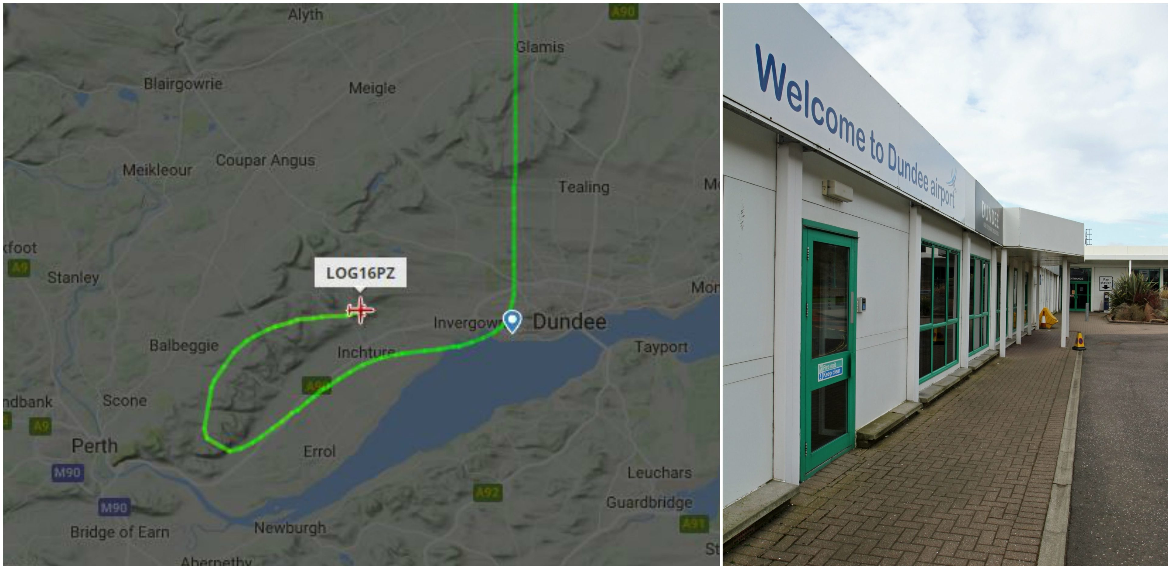 The flightradar24 map of the plane's route/Dundee Airport.