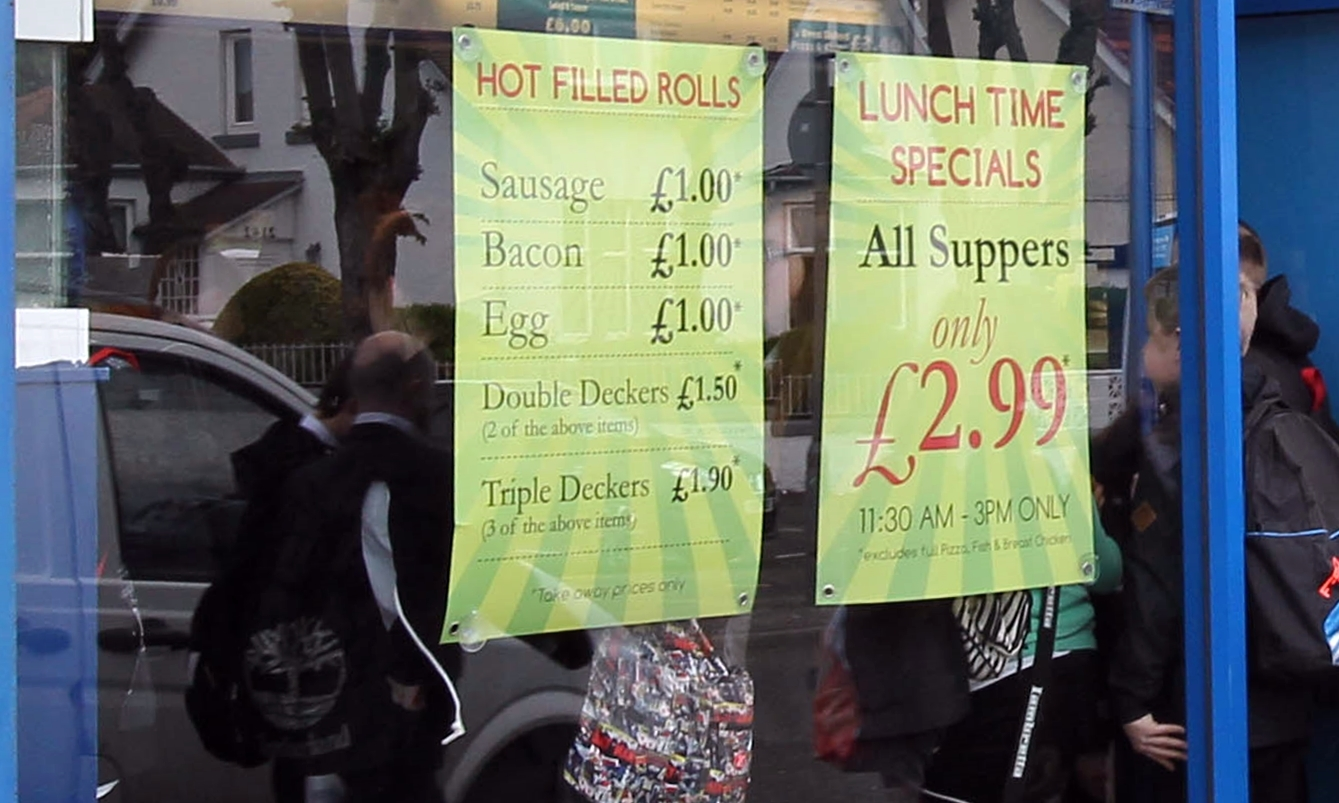 Pupils flocking to buy lunchtime specials at a takeaway near their school.