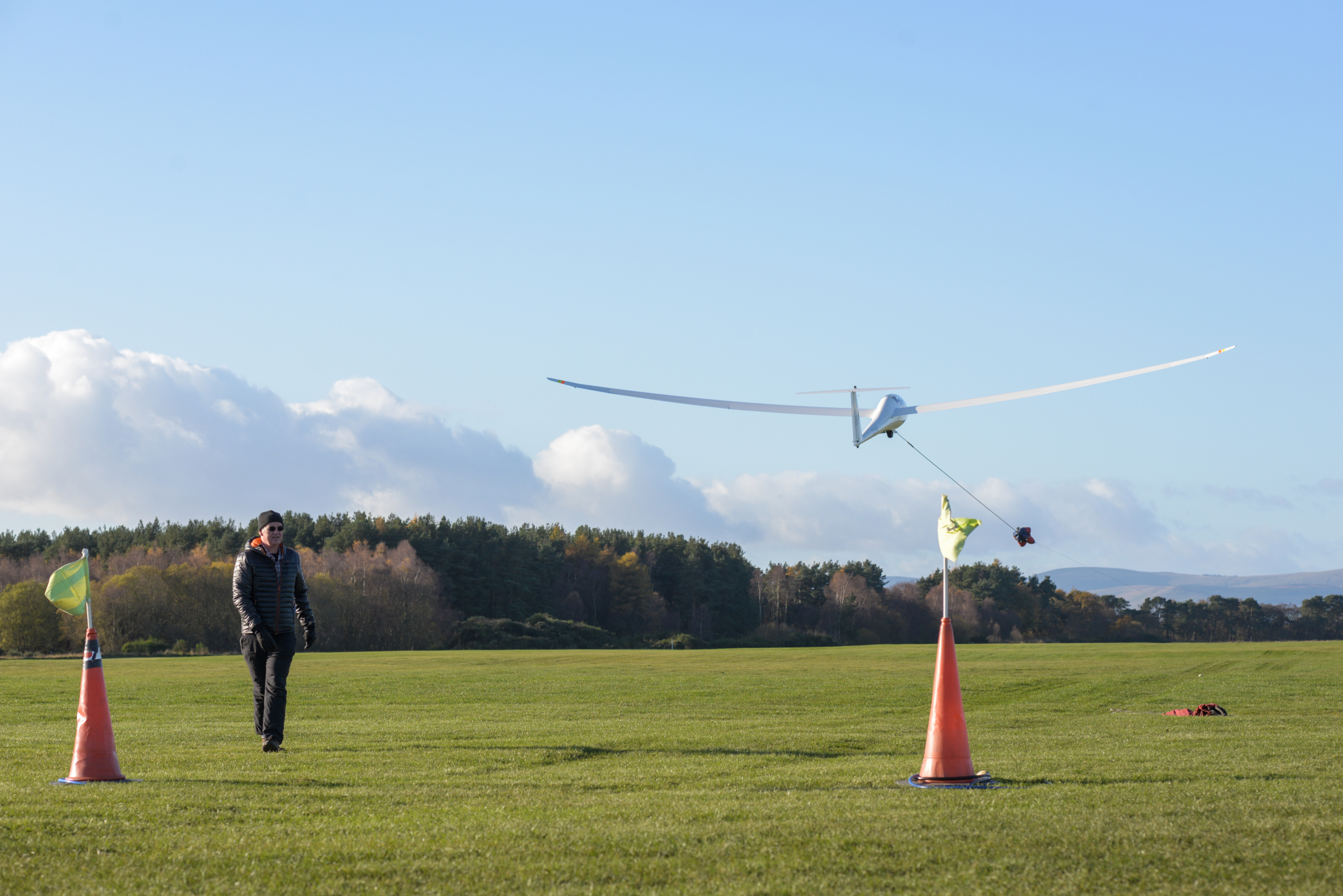 Stock image of a glider taking off at Portmoak Airfield.
