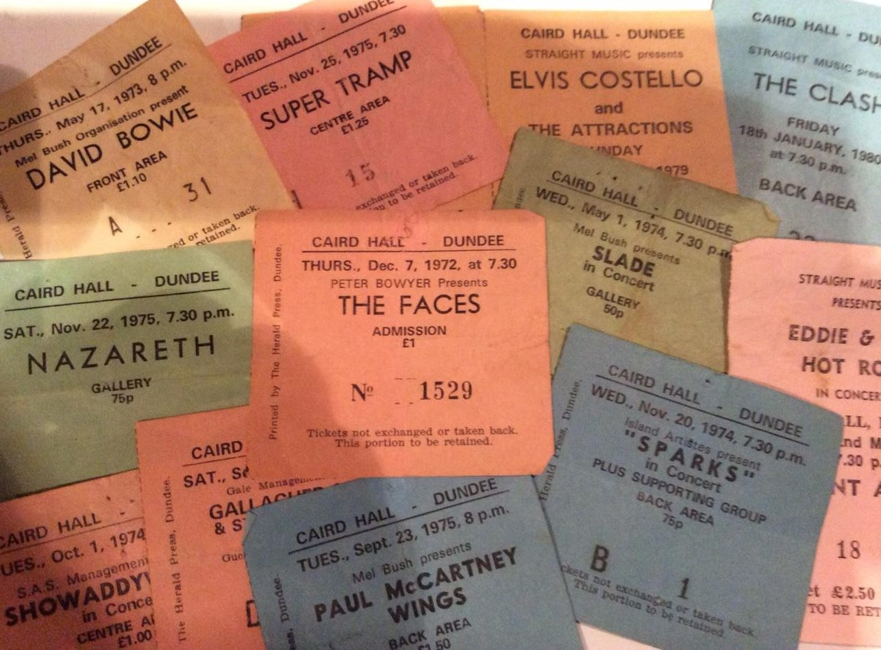 Caird Hall tickets from the 70s.