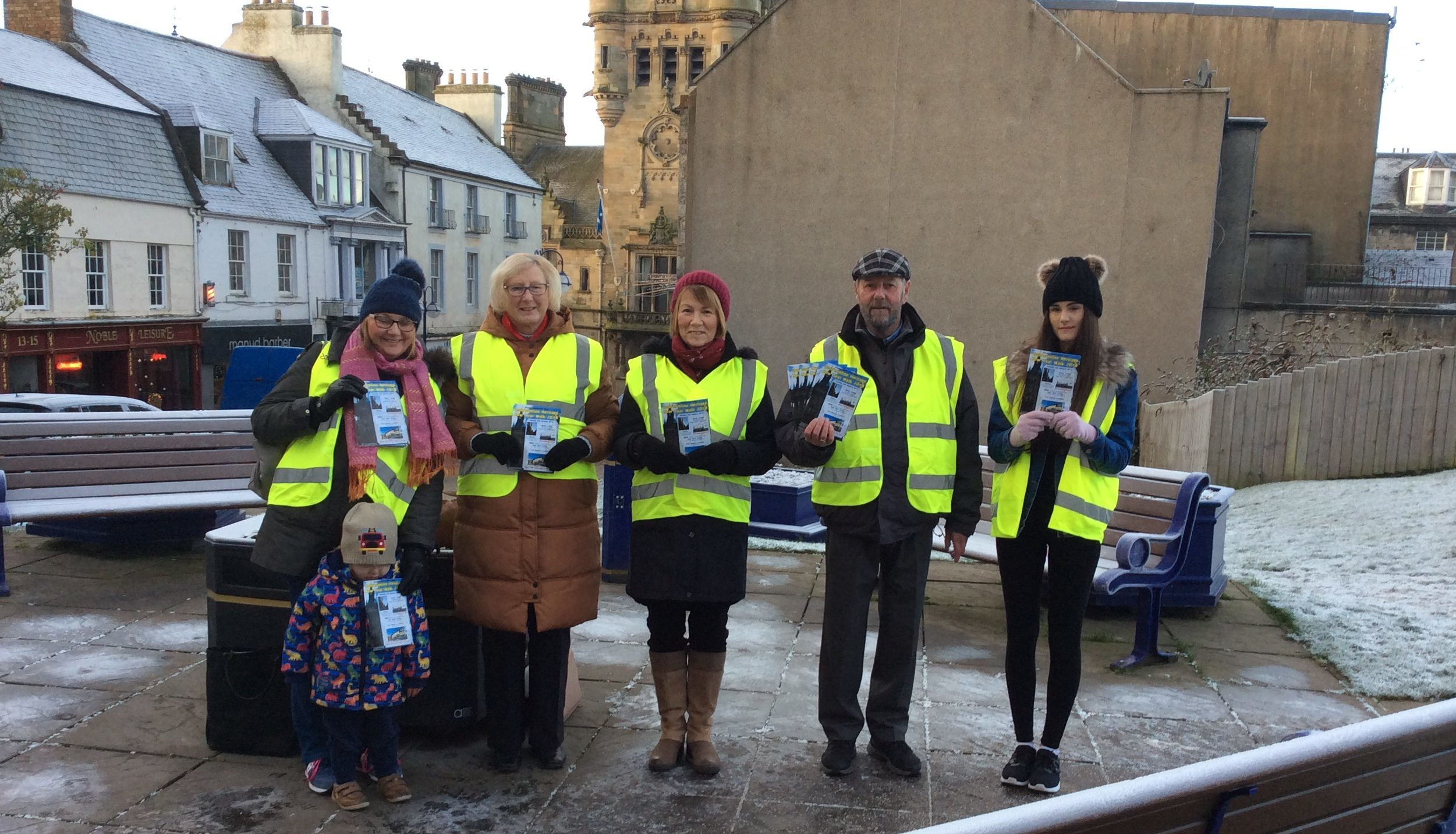Some of the heritage guides, from left to right Lesley Henderson (with grandson Noah), Nancy Porteous, Elaine Campbell, Jack Pryde and trainee guide Adele Bradford.