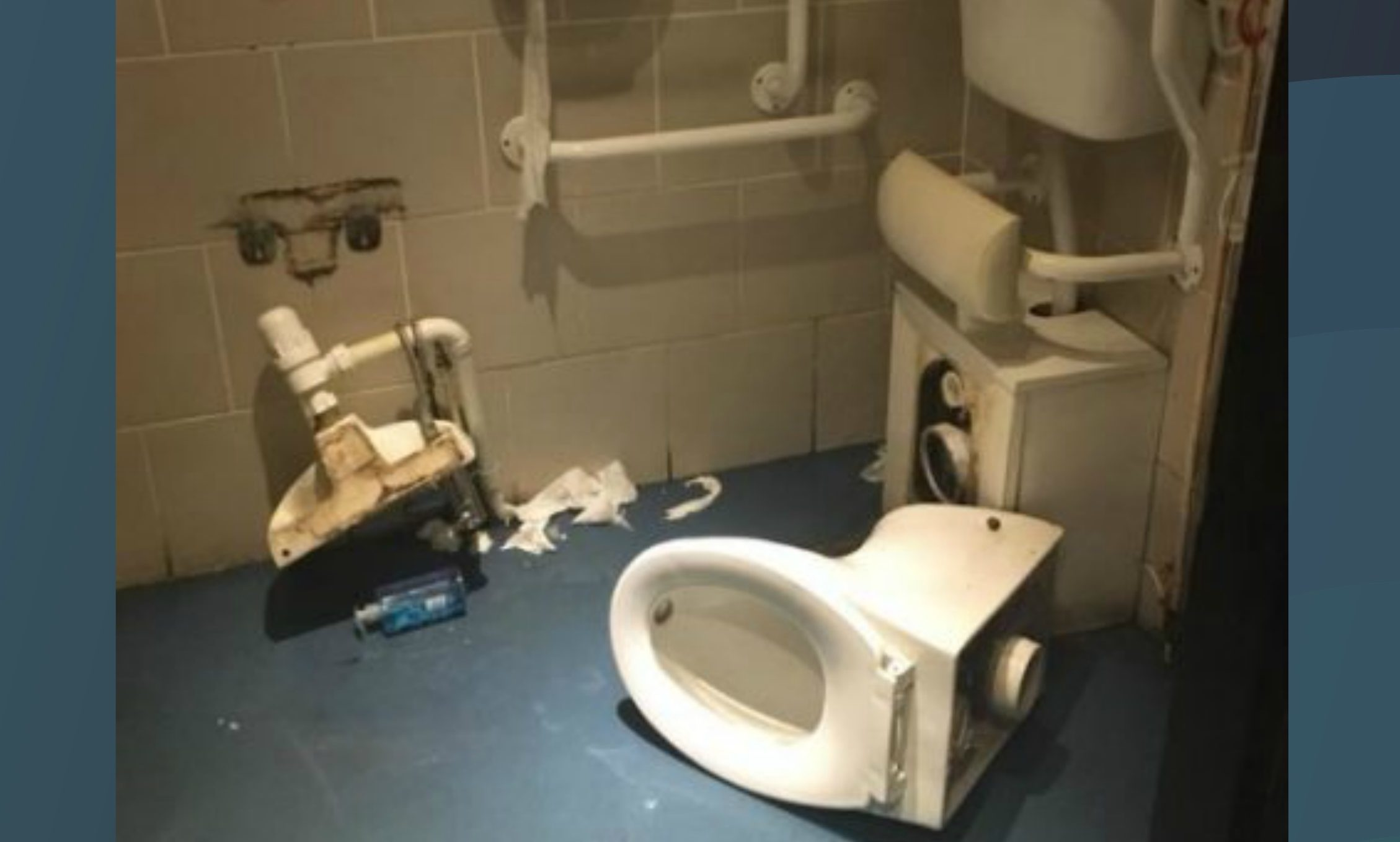 The collapsed toilet.