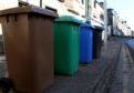 Recycling bins.