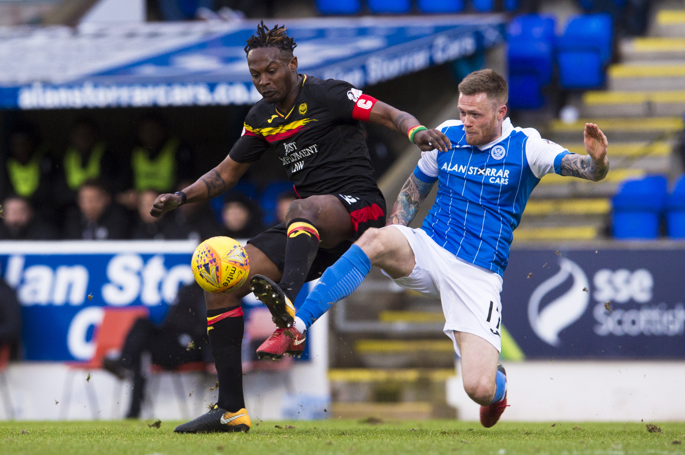 Abdul Osman (left) in action for Partick Thistle against St Johnstone.