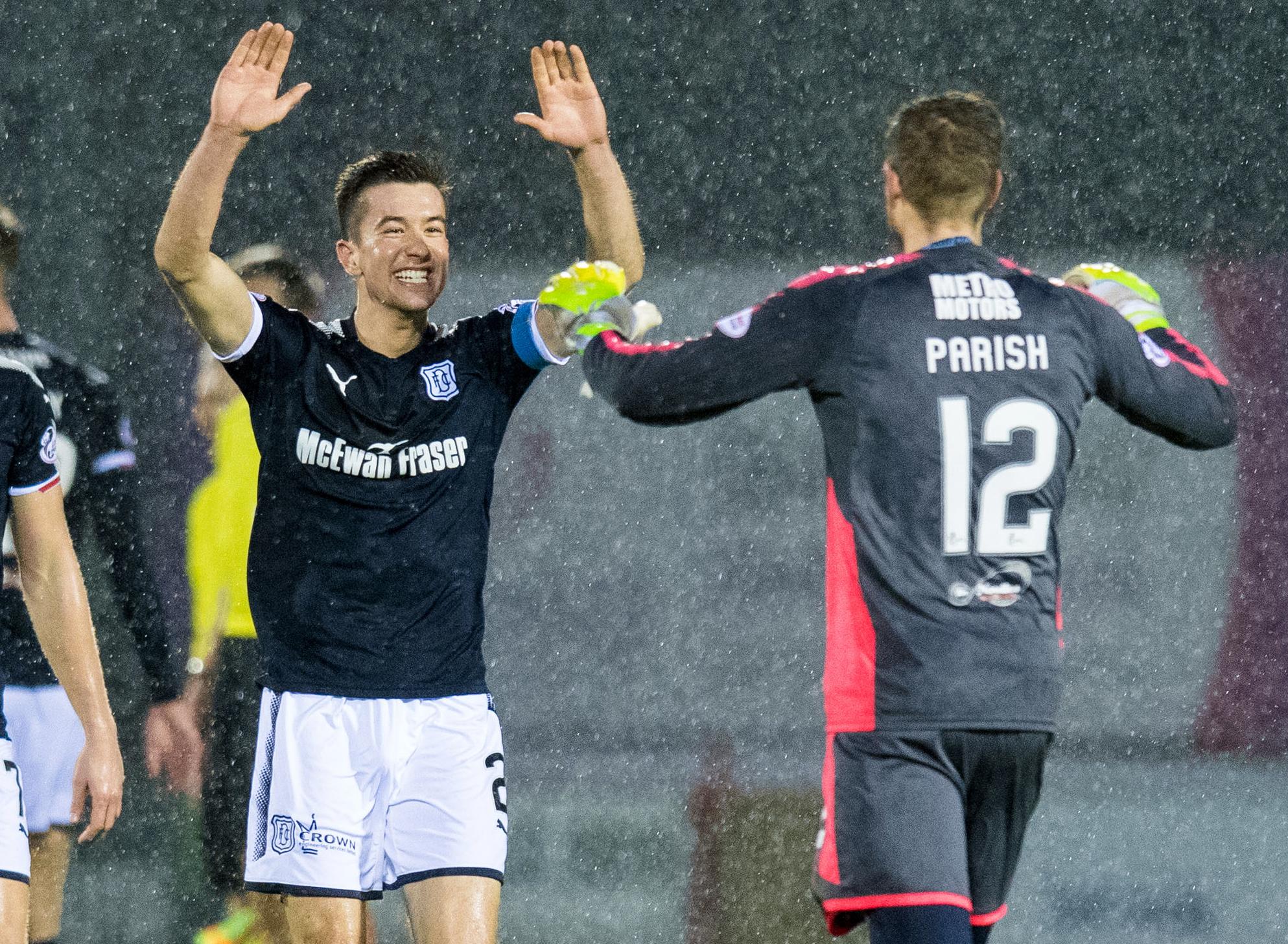 Cammy Kerr and Elliott Parish celebrate a late, late win.