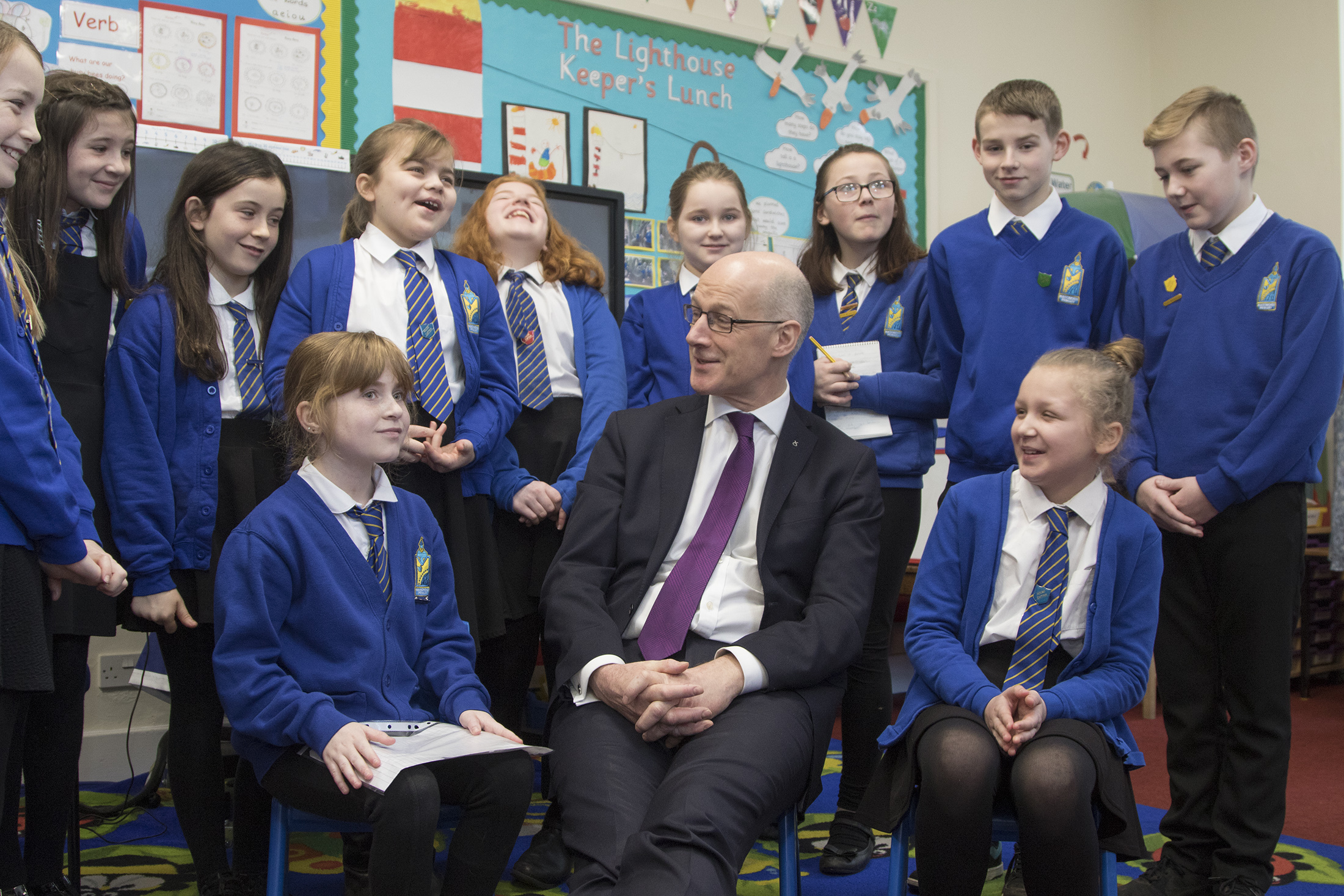 Deputy First Minister John Swinney saw the work being done at Maisondieu Primary on mental health and well-being during a recent visit.