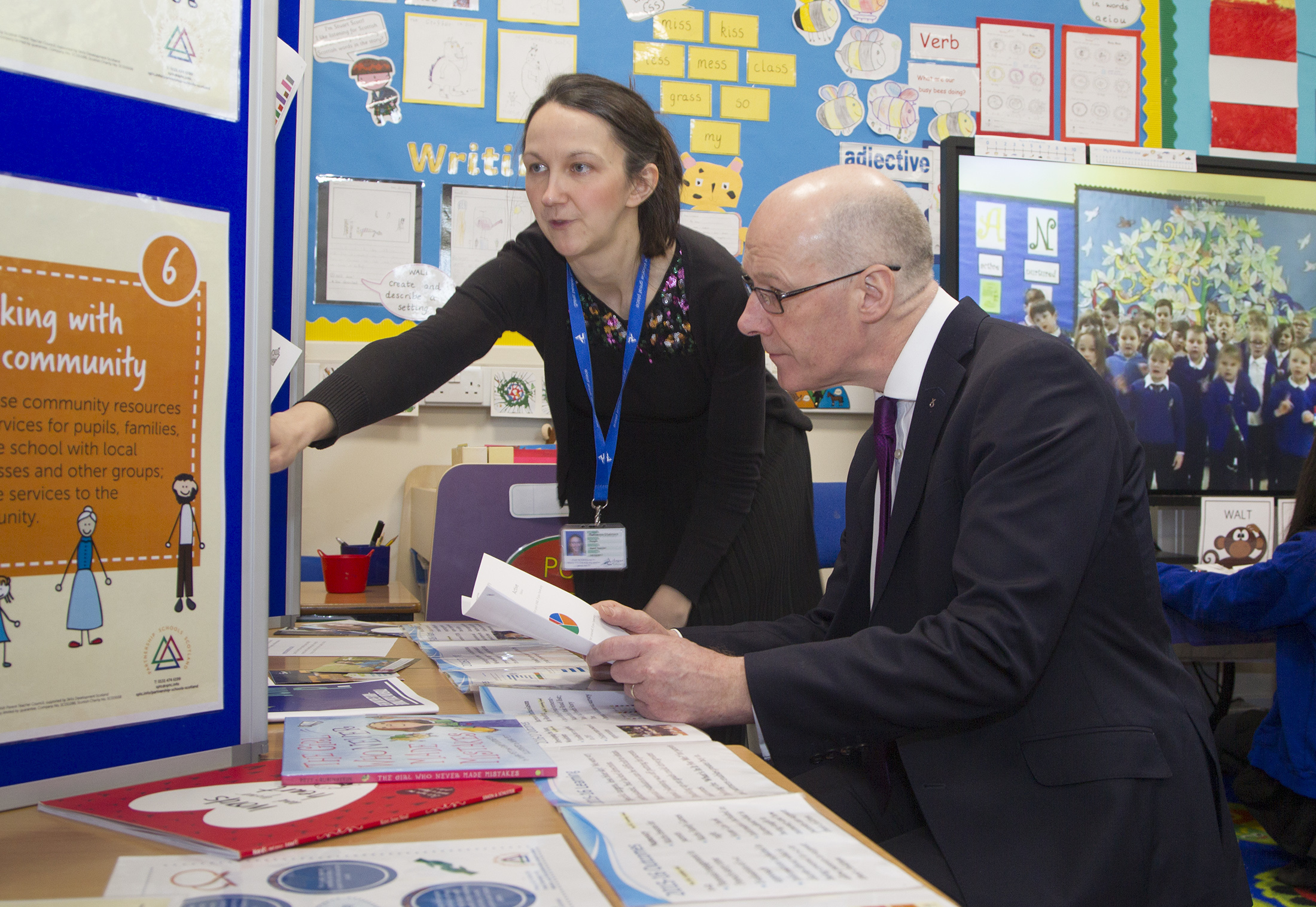 Deputy First Minister John Swinney with Maisondieu head teacher Ruthanna Chalmers during his visit to Angus on Monday.