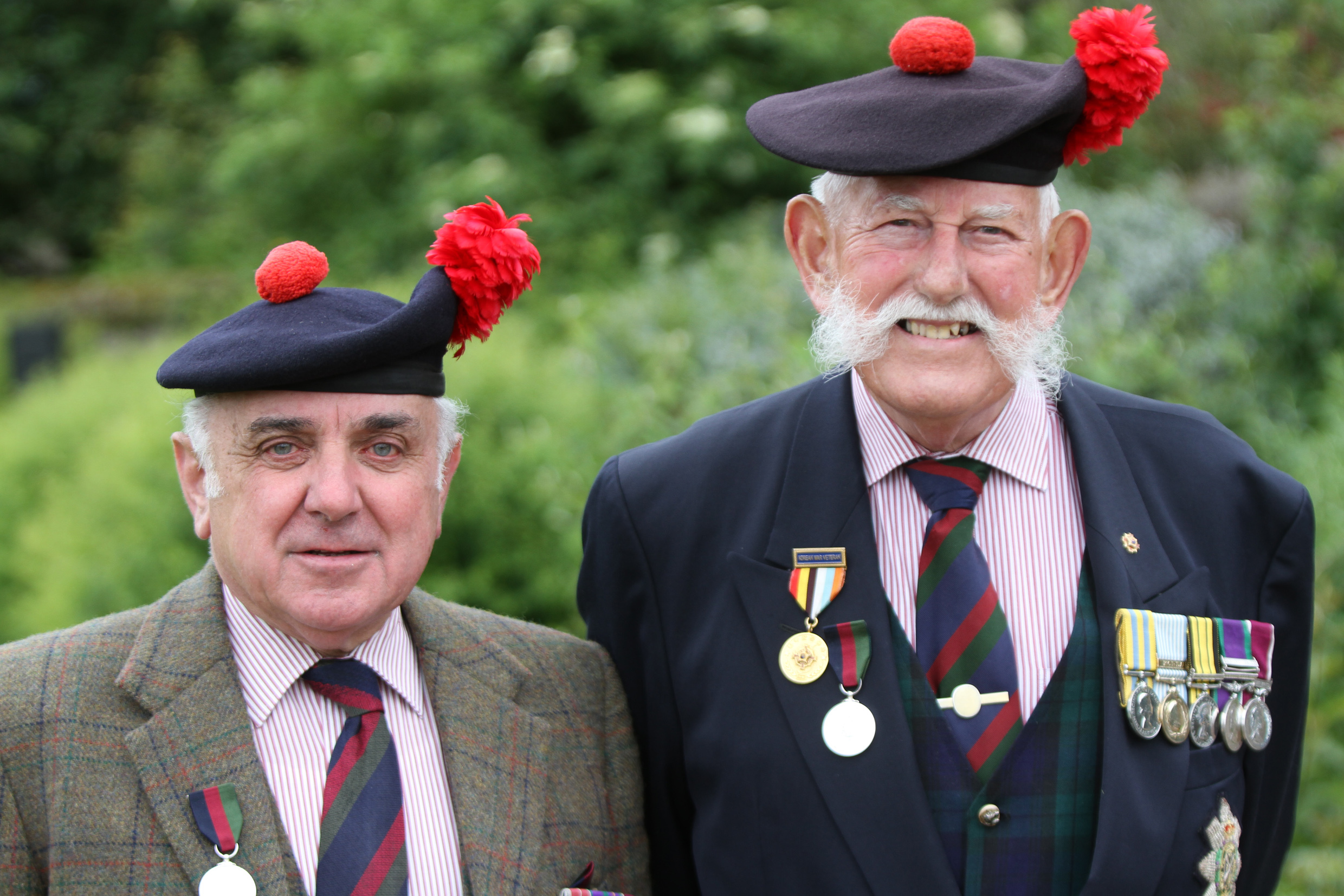 Ronnie Proctor with the late Joe Hubble before a Black Watch parade in Perth.