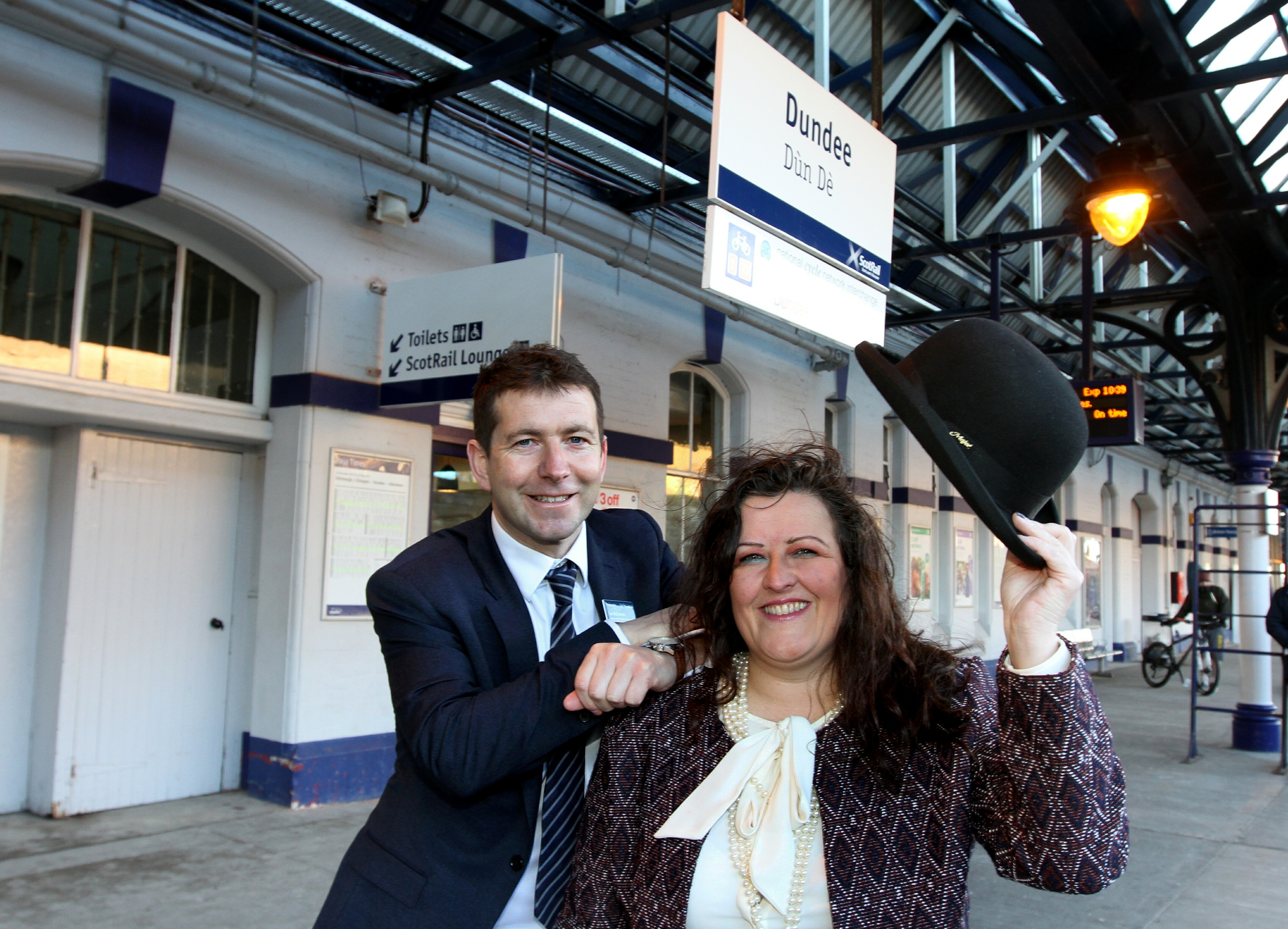 Councillor Lynne Short and ScotRail programmes and transformation director Ian McConnell outside the new waiting area.