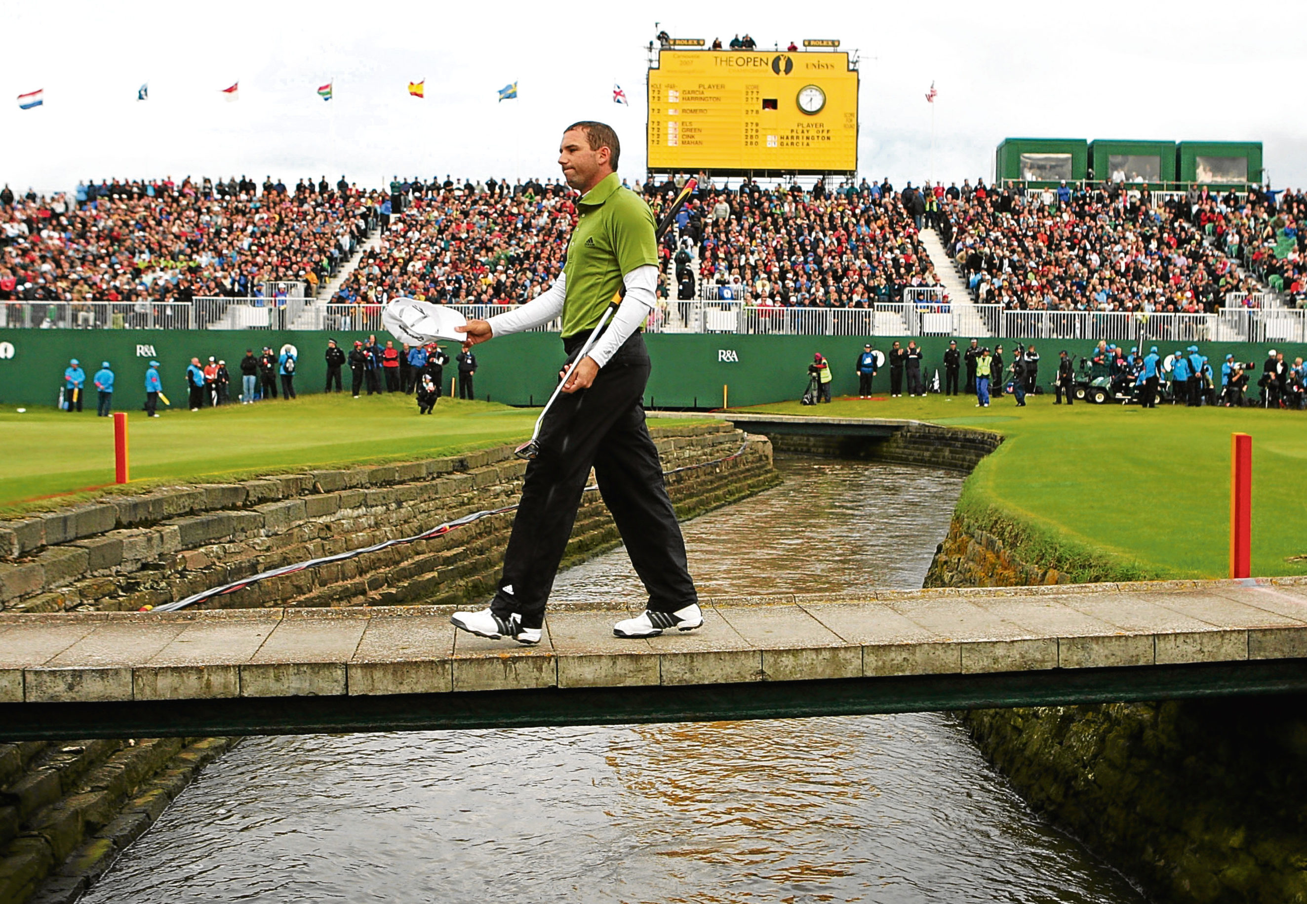 Sergio Garcia crosses the Barry Burn on Carnoustie's 18th during his near-miss at the Open in 2007.