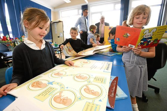 Pupils in the Gaelic Class at Goodlyburn PS Perth  LR Anna Gilchrist and Eilidh Cook Pic Phil Hannah