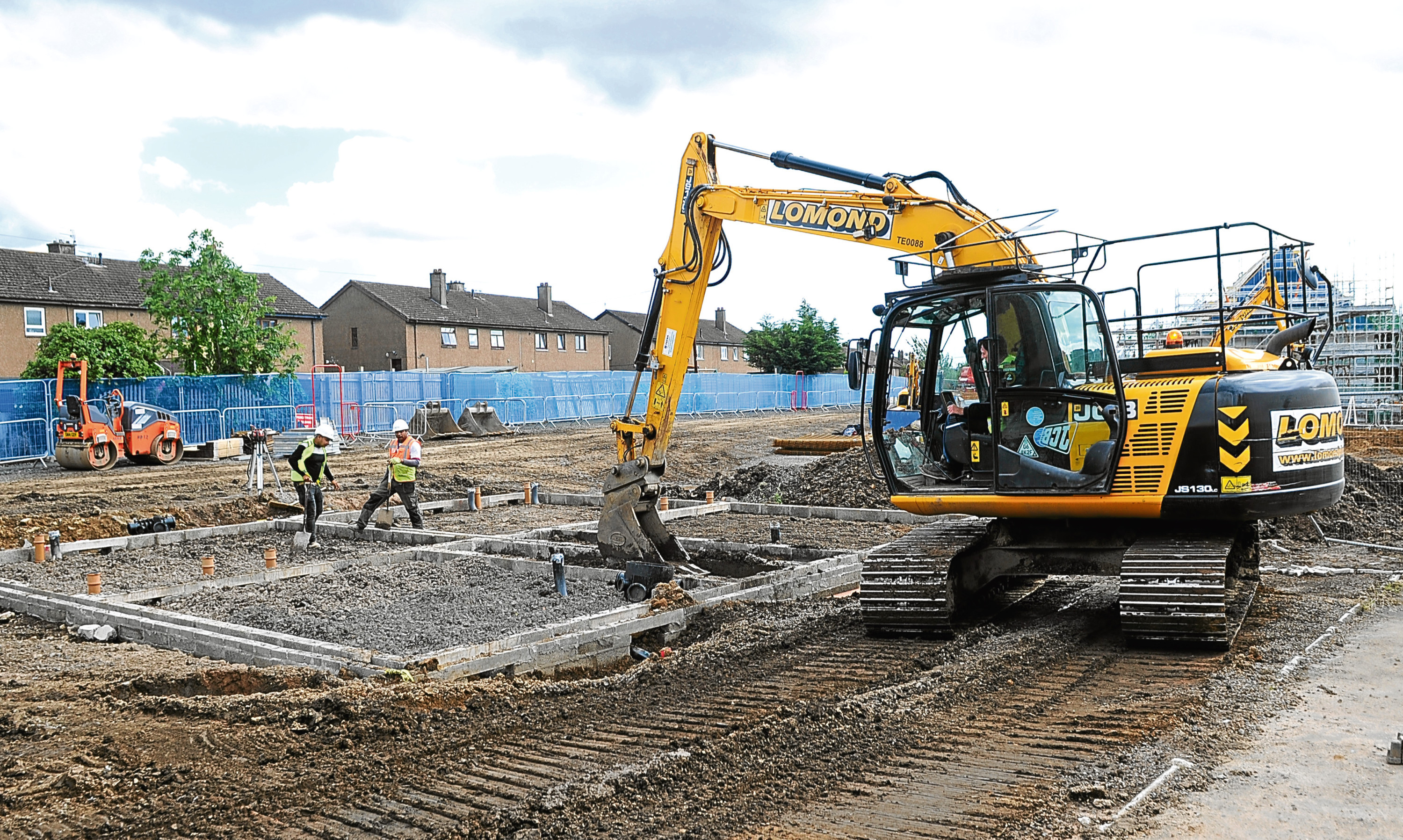 Construction work creating new housing at Finavon Terrace in Dundee.