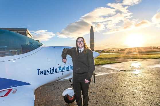 Trainee pilot Abbie Chalmers, 19, at Tayside Aviation.