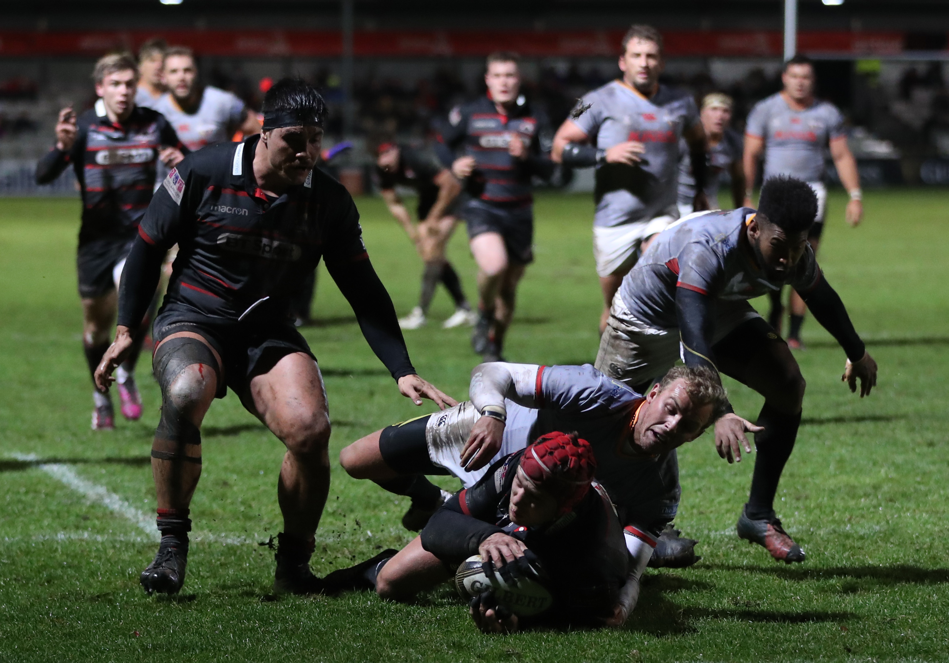 Grant Gilchrist scores Edinburgh's first try against the Kings at Myreside.