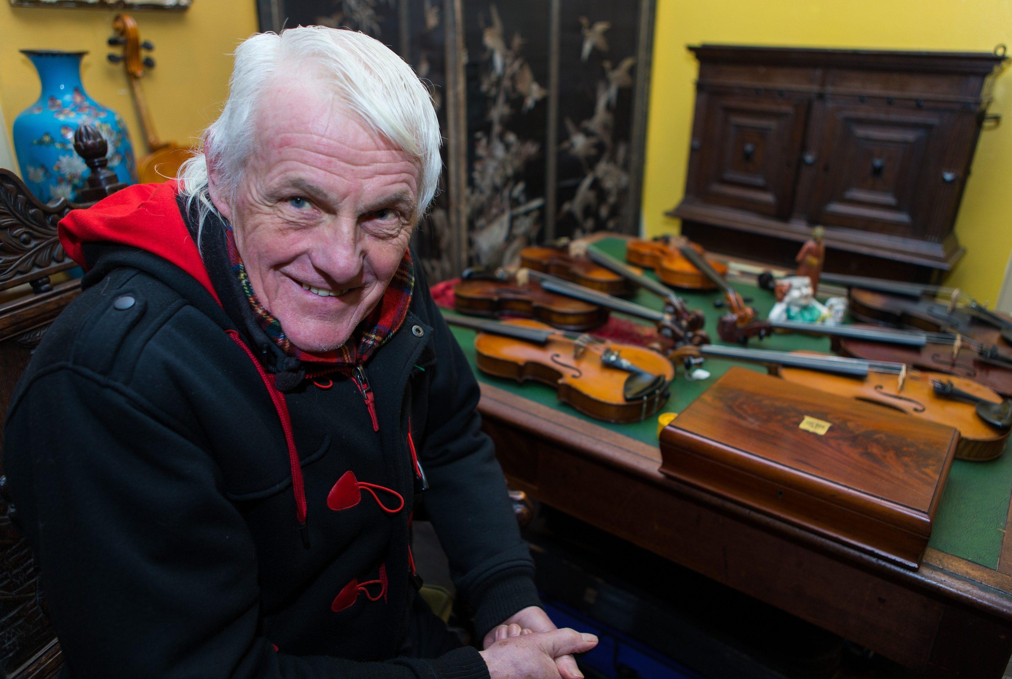 Bob Beveridge at his Violin Shop in Falkland