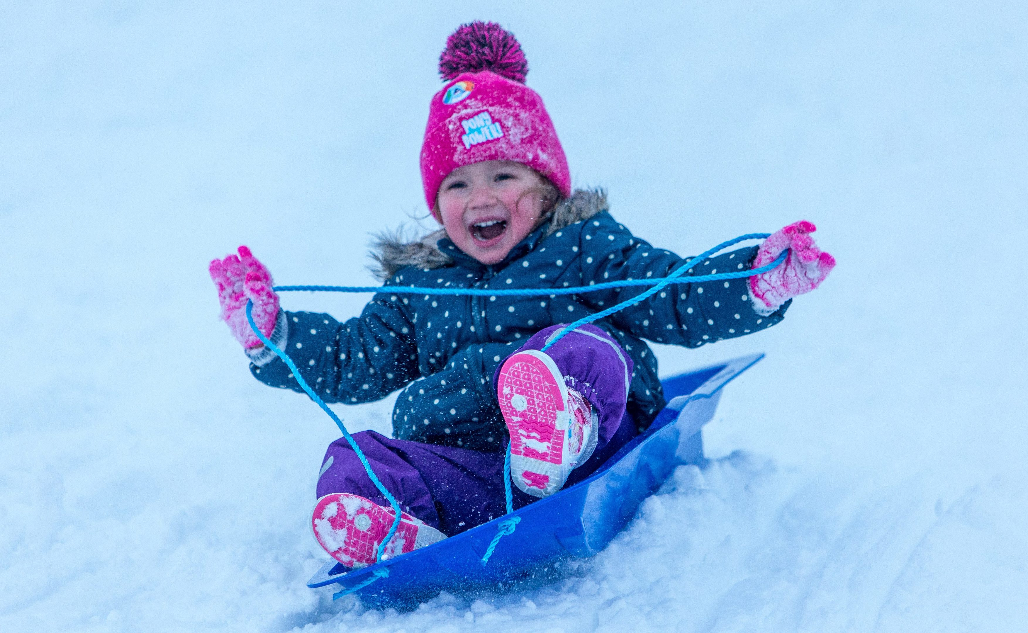 Olivia Cuthbert (3), from Bridge of Earn, sledging at Glenshee at the weekend.