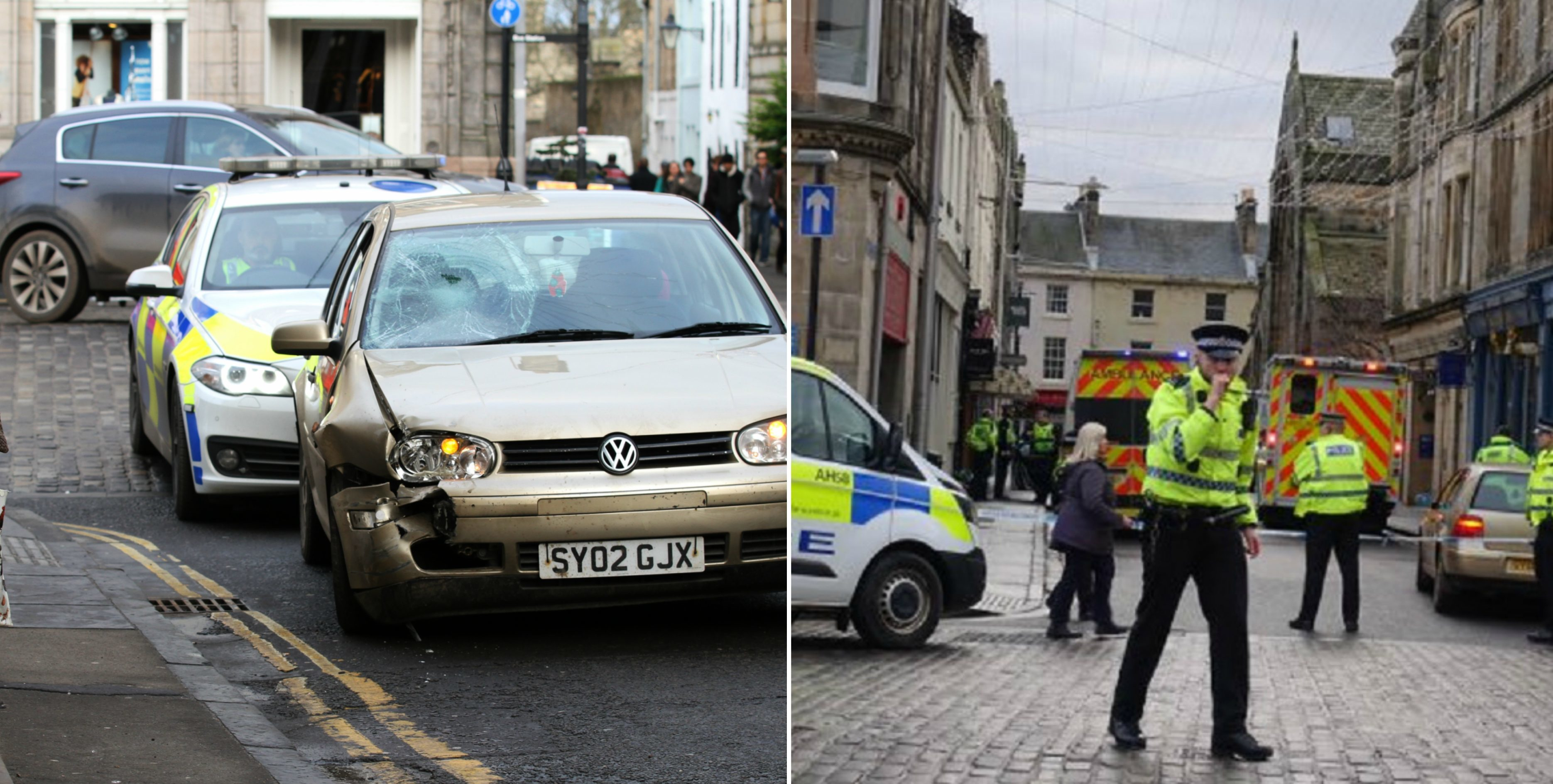 The scene following the incident in St Andrews.