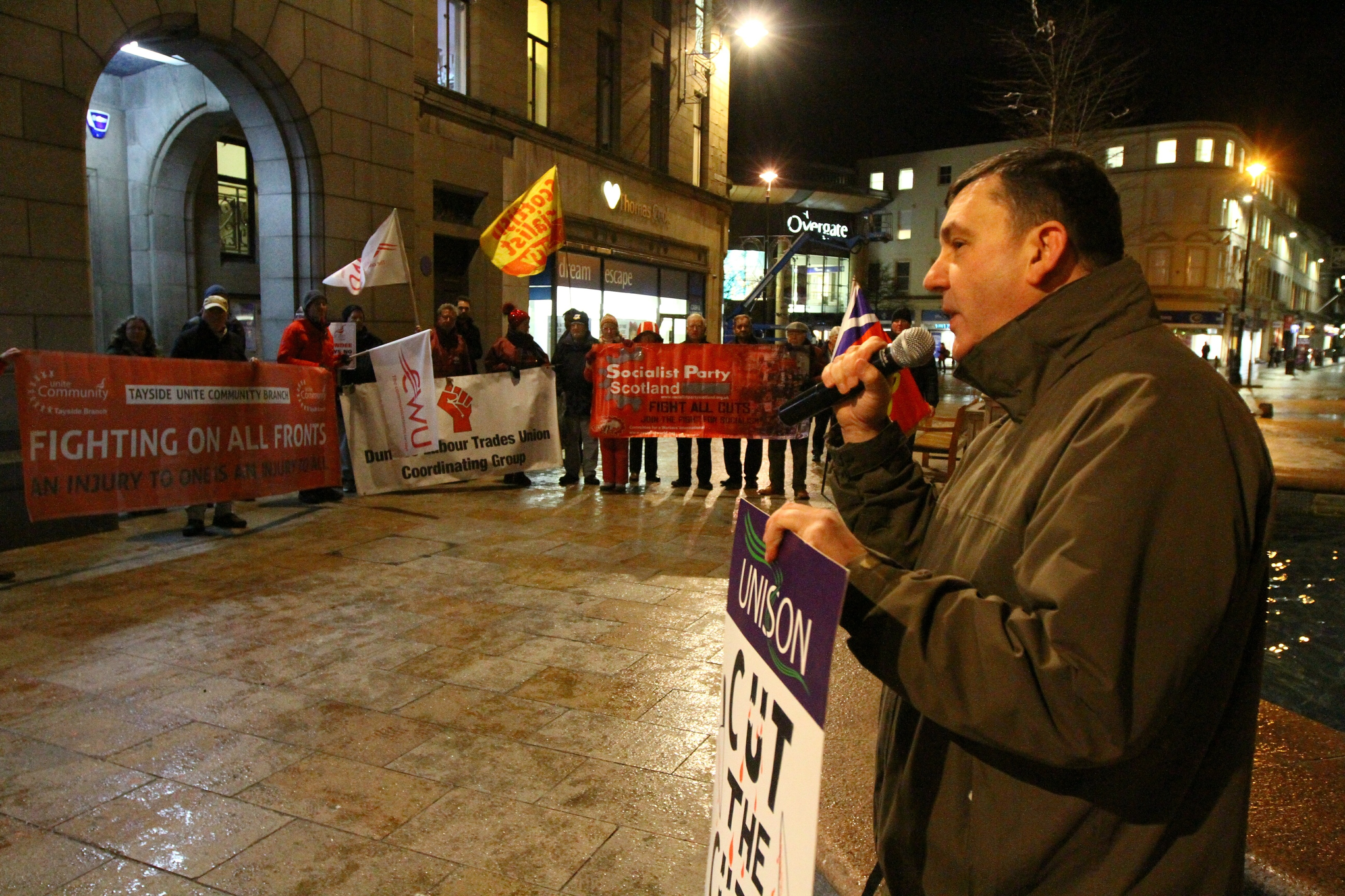 McFarlane OF Dundee City Unison addressing the protesters outside the City Chambers.