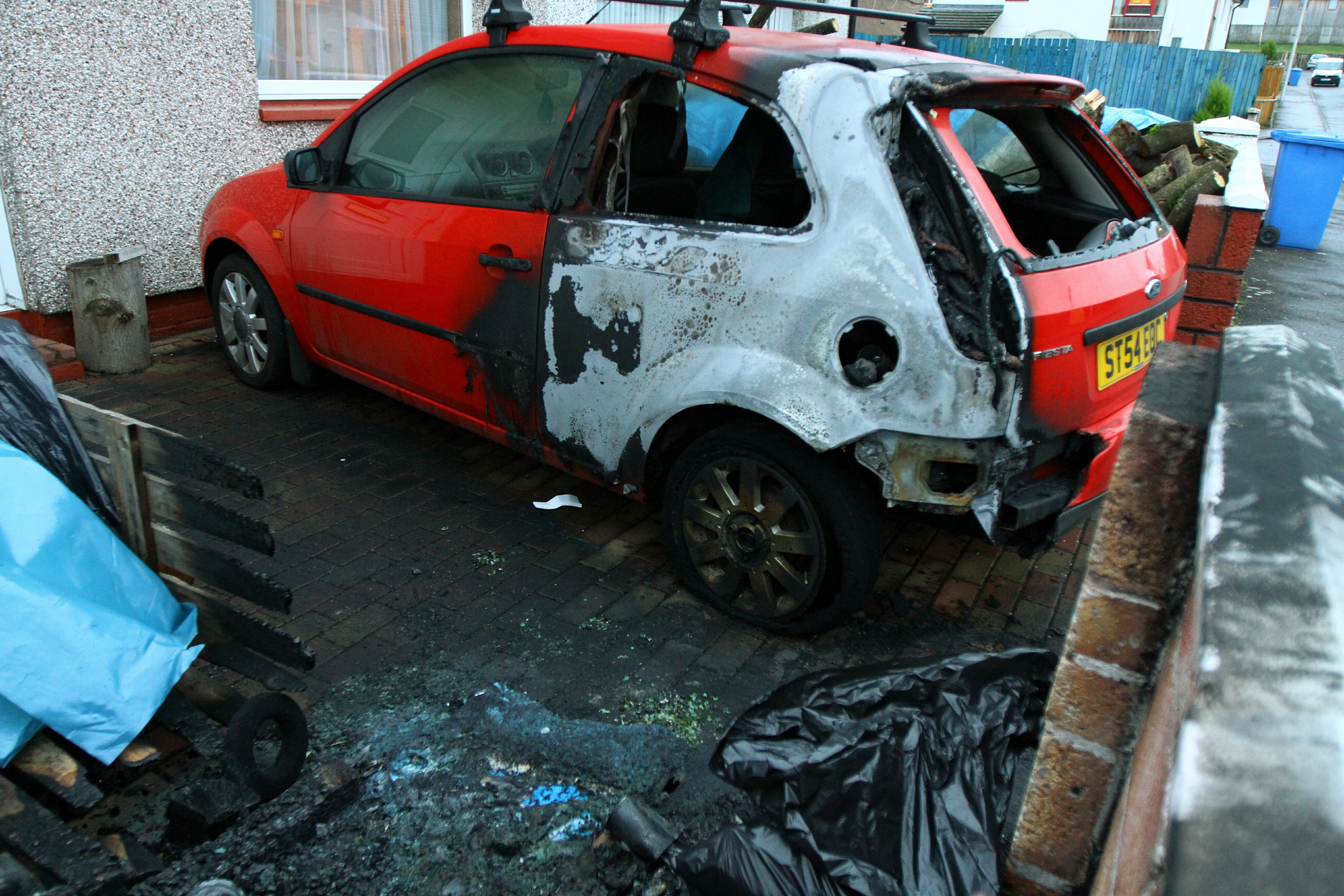 The fire damaged Fiesta at the house in Craigmount Road