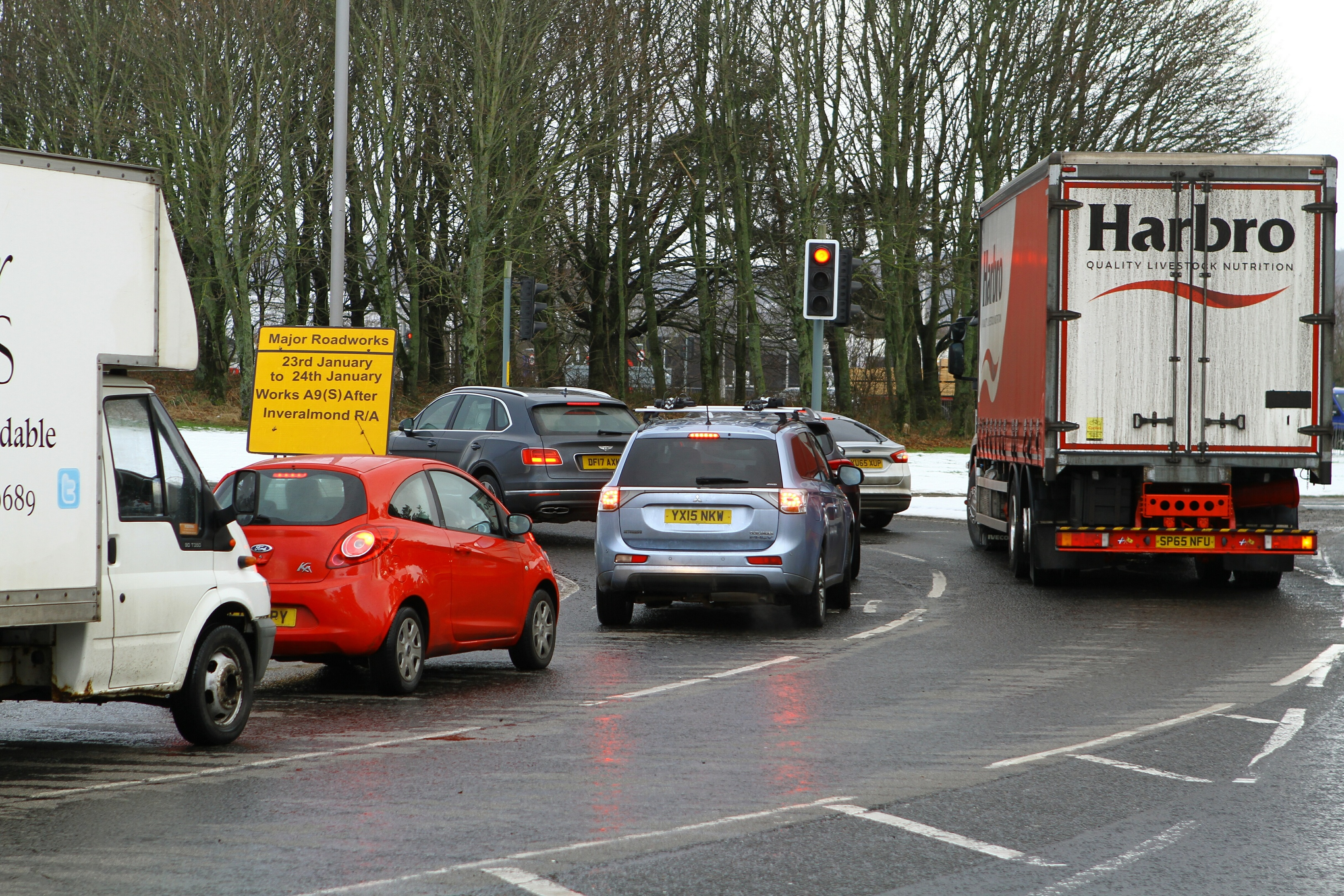 Busy traffic at the Inveralmond roundabout in Perth on Monday, January 22.