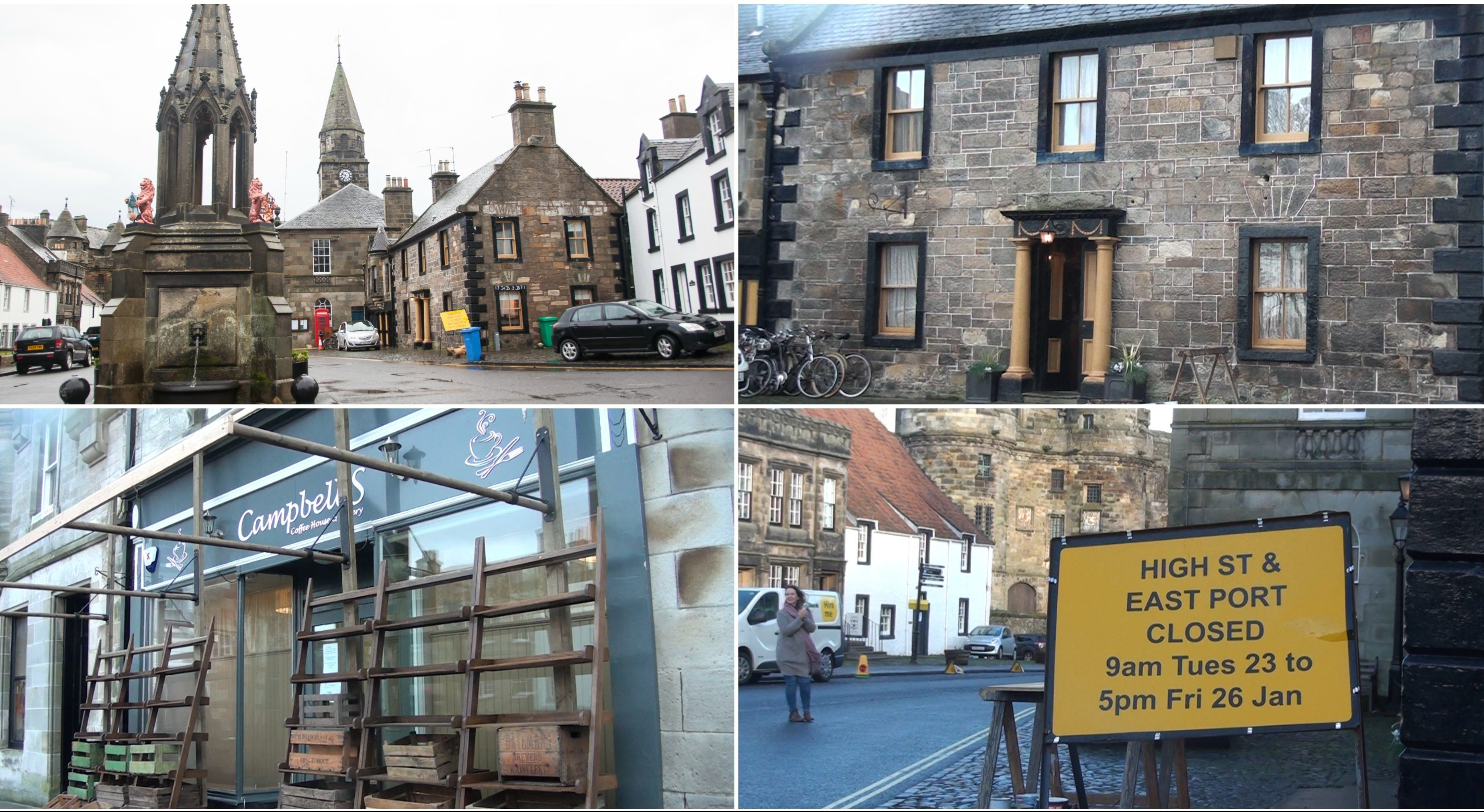 Falkland businesses were transformed as the village welcomes Outlander's cast and crew.