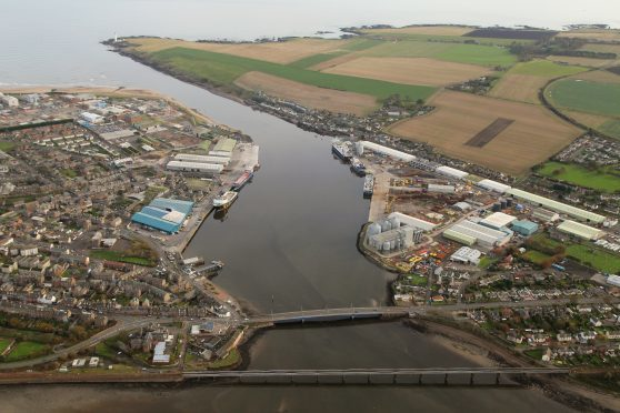 An aerial picture of Montrose Port.