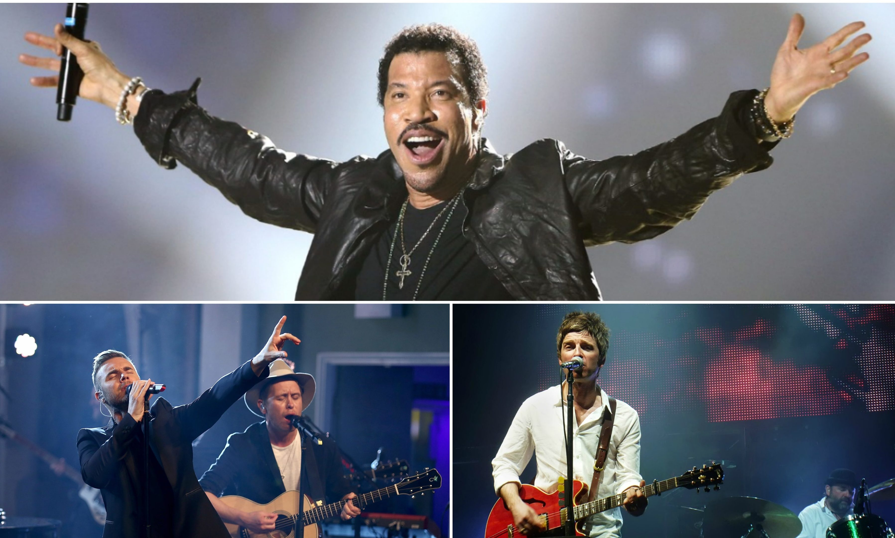 Lionel Richie, Gary Barlow and Noel Gallagher will all play in Tayside in 2018.