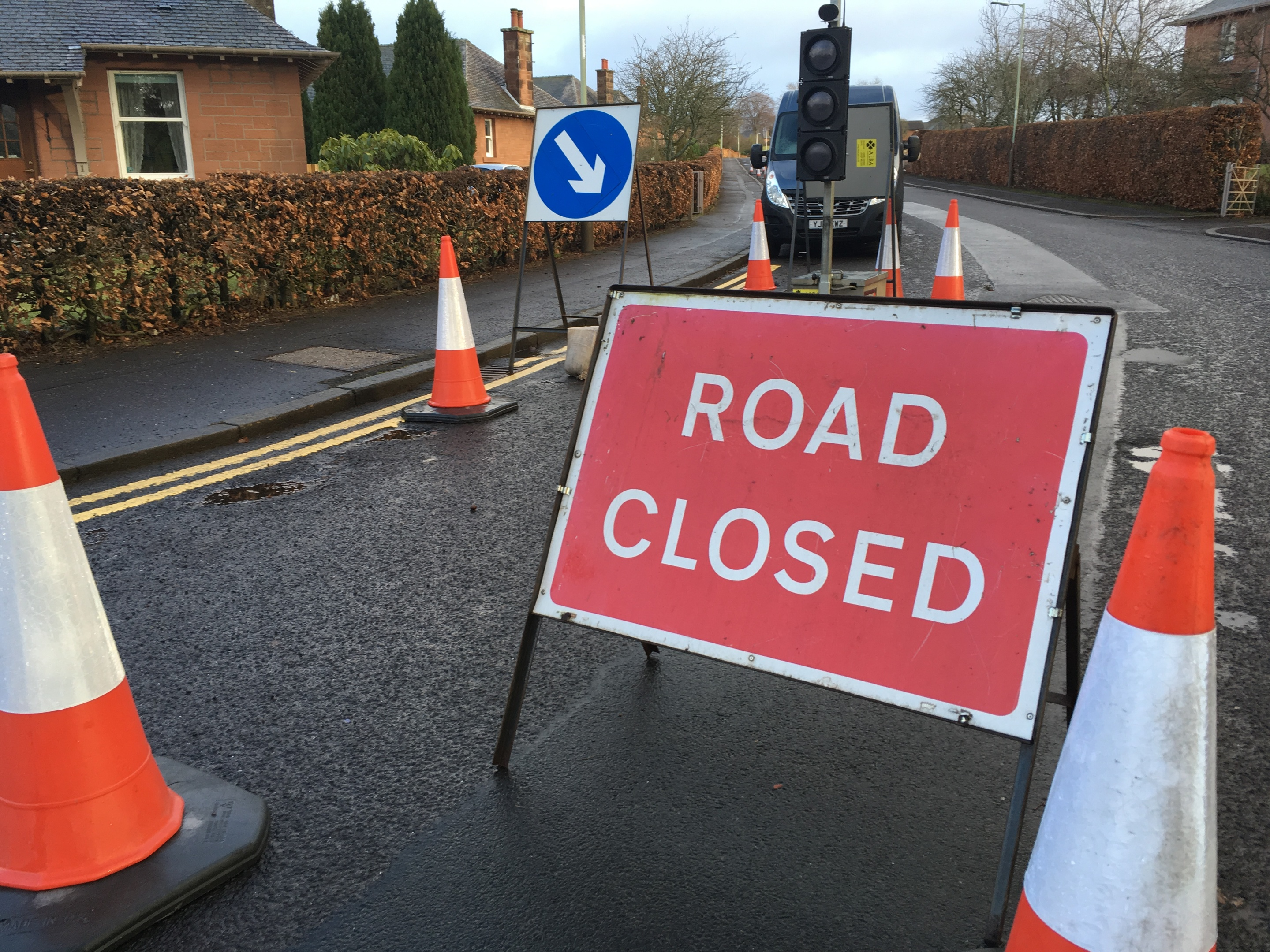 Road closure signs at Gannochy Road