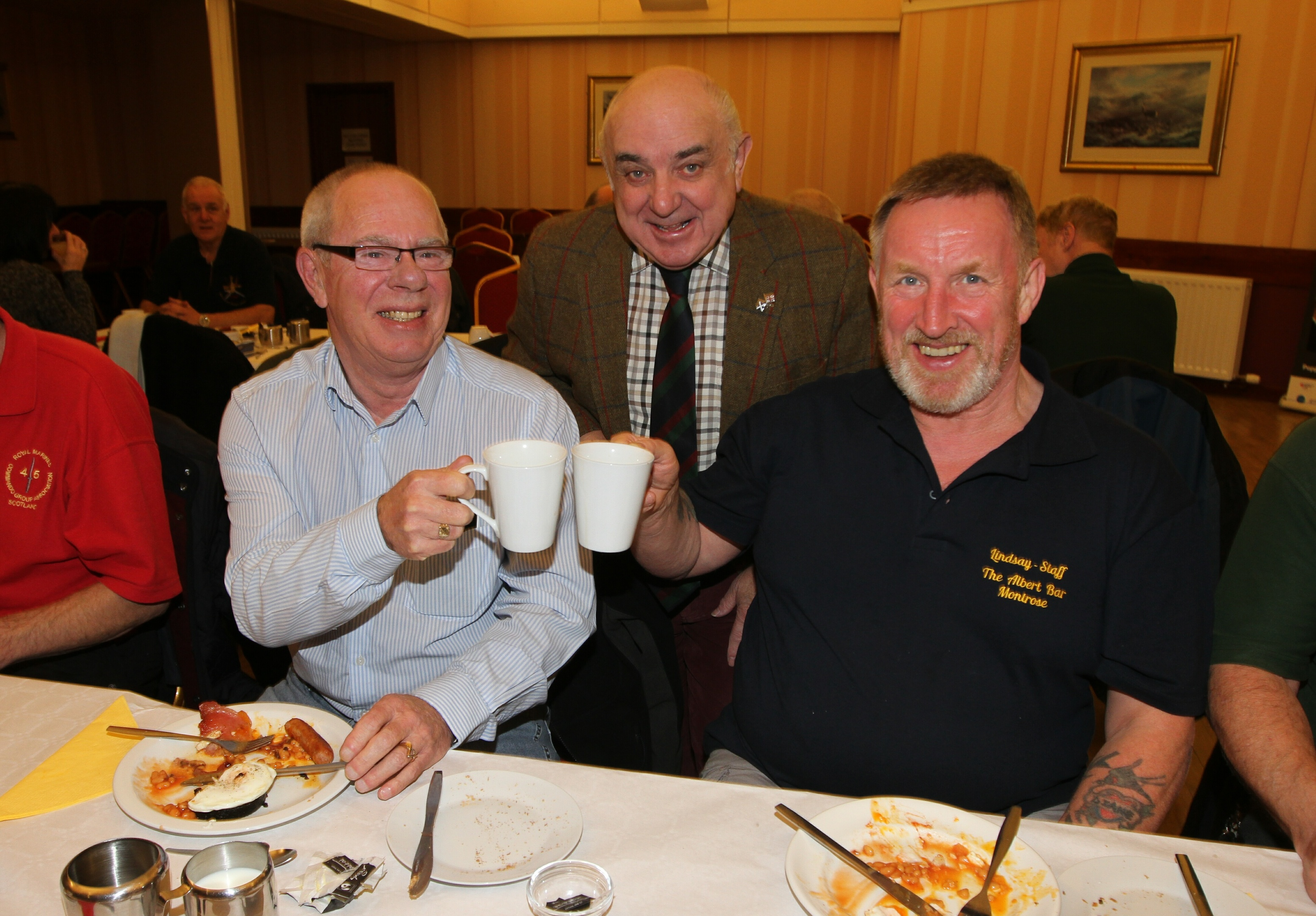 Angus Provost Ronnie Proctor with Neville Stewart (63) of the Royal Army Ordnance Corps and Lindsay Duncan (60) of 3 Para