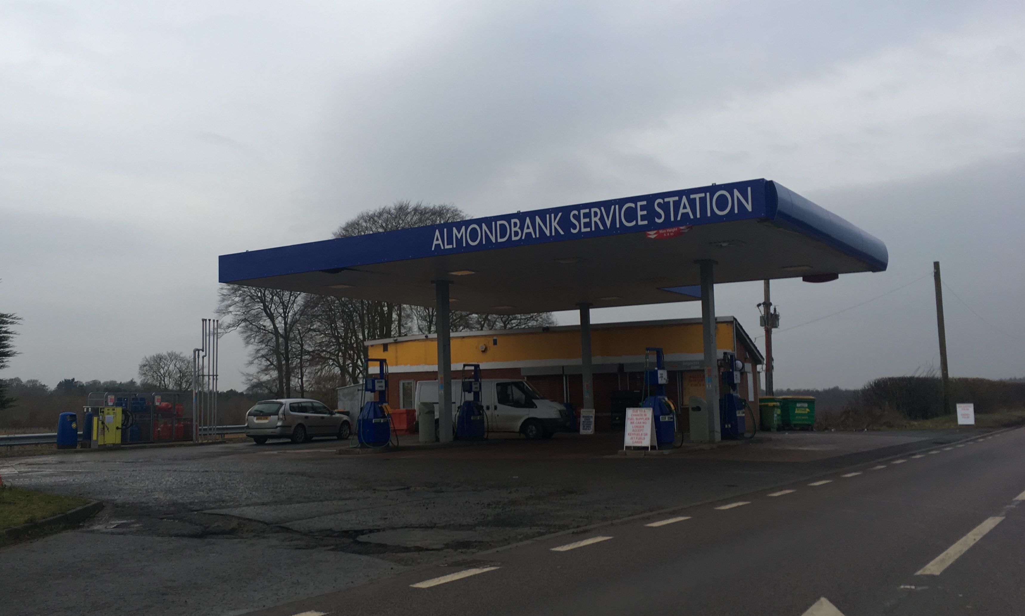 Almondbank Filling Station has closed for repairs following Friday night's break-in