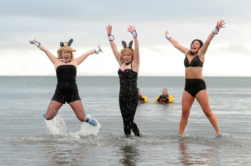 Fiona Stewart, Karen Archibald and Rebecca Cain at Kinghorn Beach.