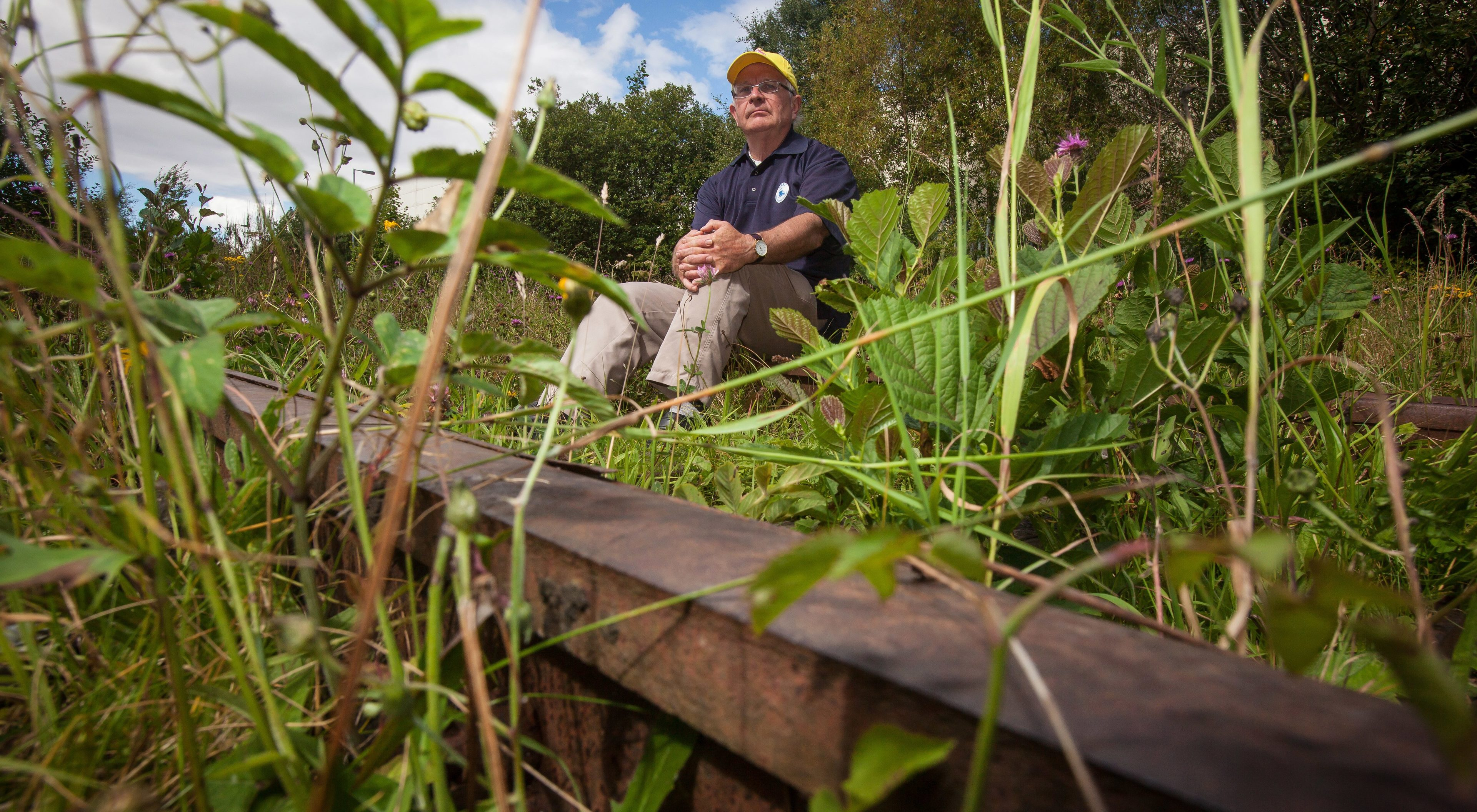 Dr Allen Armstrong, Secretary of the Levenmouth Rail Campaign at the site of the overgrown railway