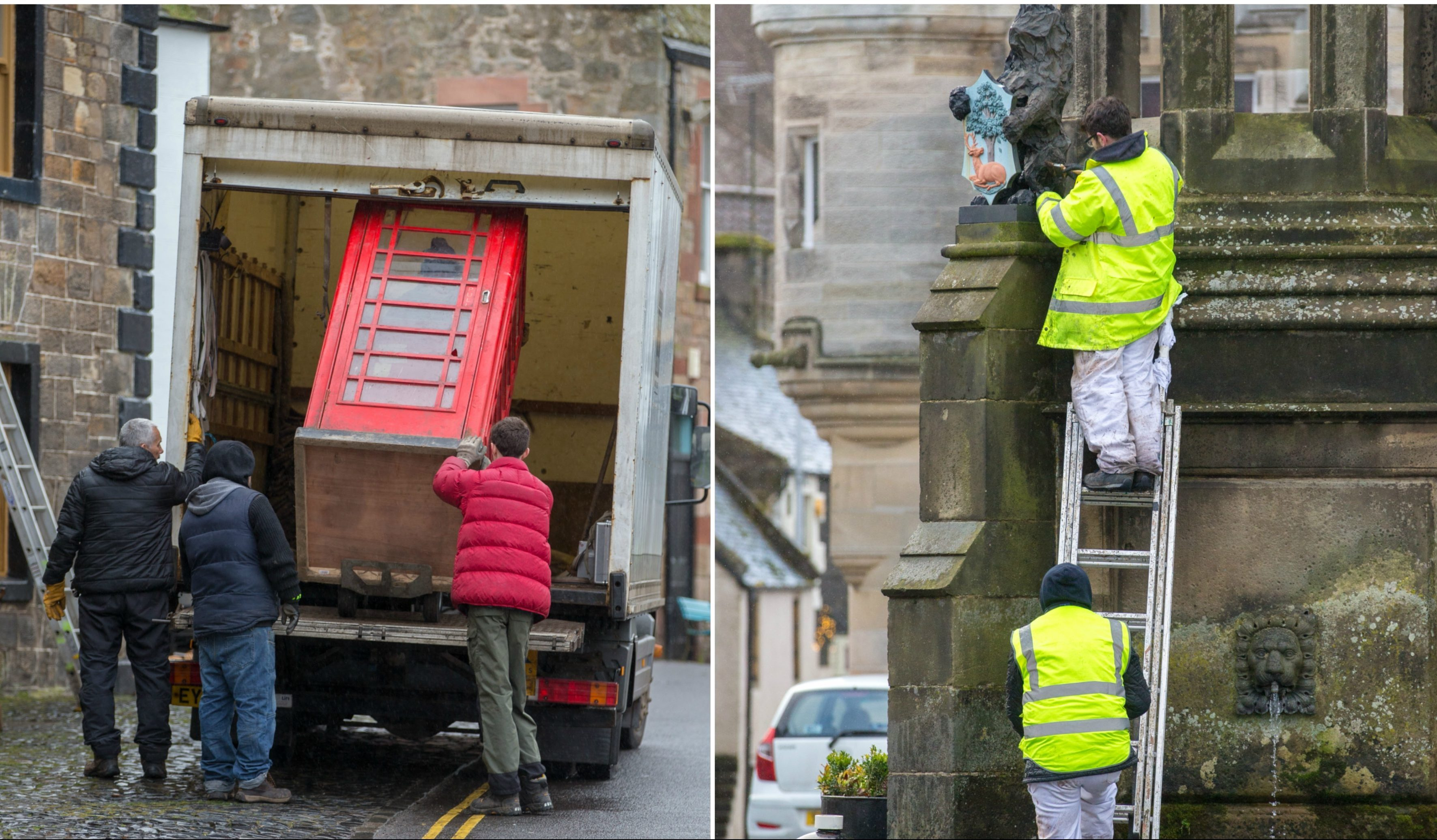 Falkland is being transformed for filming of Outlander season four.