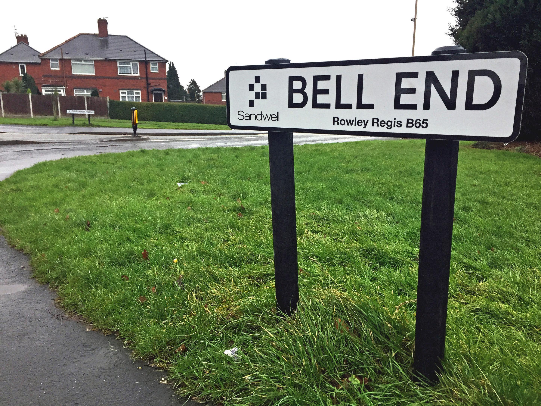 A street named Bell End in Rowley Regis, West Midlands.