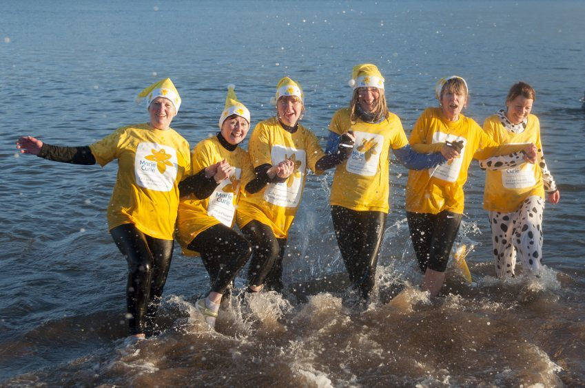 Morag Cowans, Jackie Low, Lyn Williamson, Linda Merilees, Sandra Robertson and Shirley Murison from Carnoustie Marie Curie.