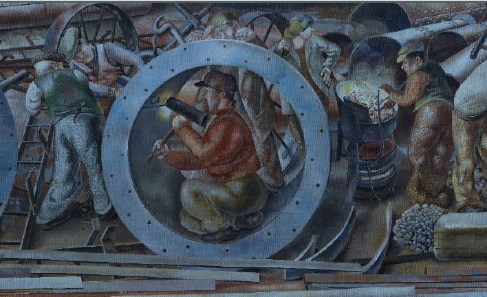 Detail of Riveters, from the series Shipbuilding on the Clyde.
