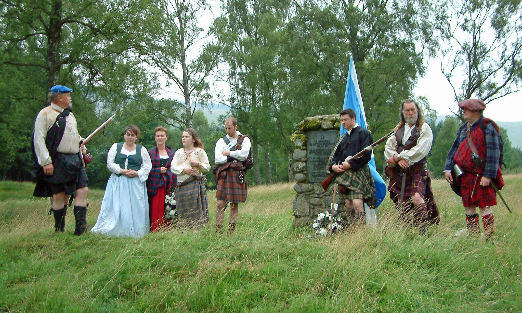 Rulzion Rattray, extreme left and James Rattray extreme right with members of the White Cockade Society at Battle of Killiecrankie Memorial Cairn