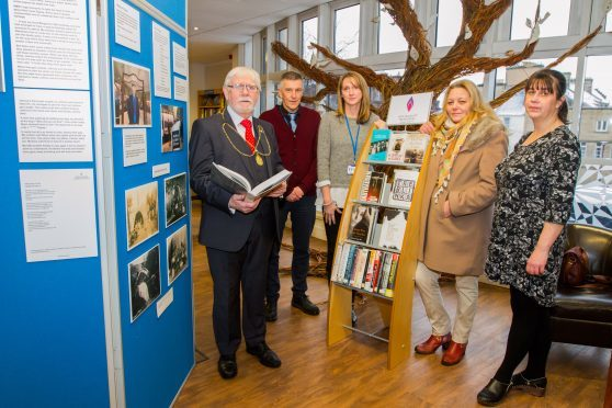 Picture shows, left to right, Provost Dennis Melloy, David McPhee (Perth & Kinross Council), Dr Nicola Cowmeadow (Local History Officer, AK Bell Library), Roseanna McPhee (Chairperson of Rajpot) and Elaine Blair (AK Bell Library, Librarian).