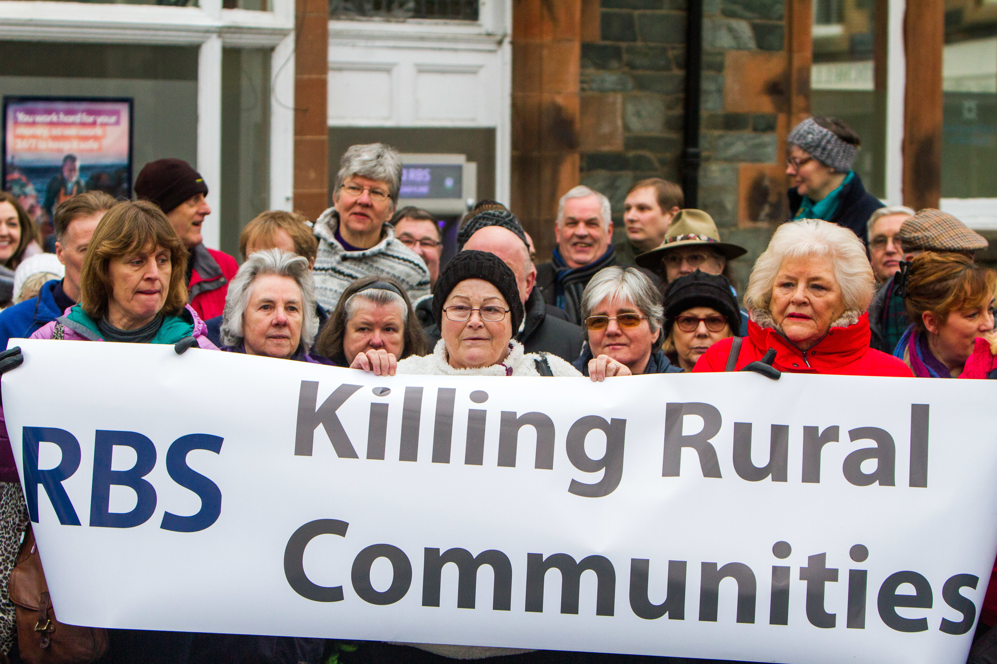 Aberfeldy protests against the closure of its RBS branch.