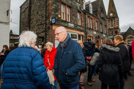 John Swinney MSP chatting to some protesters at Aberfeldy.