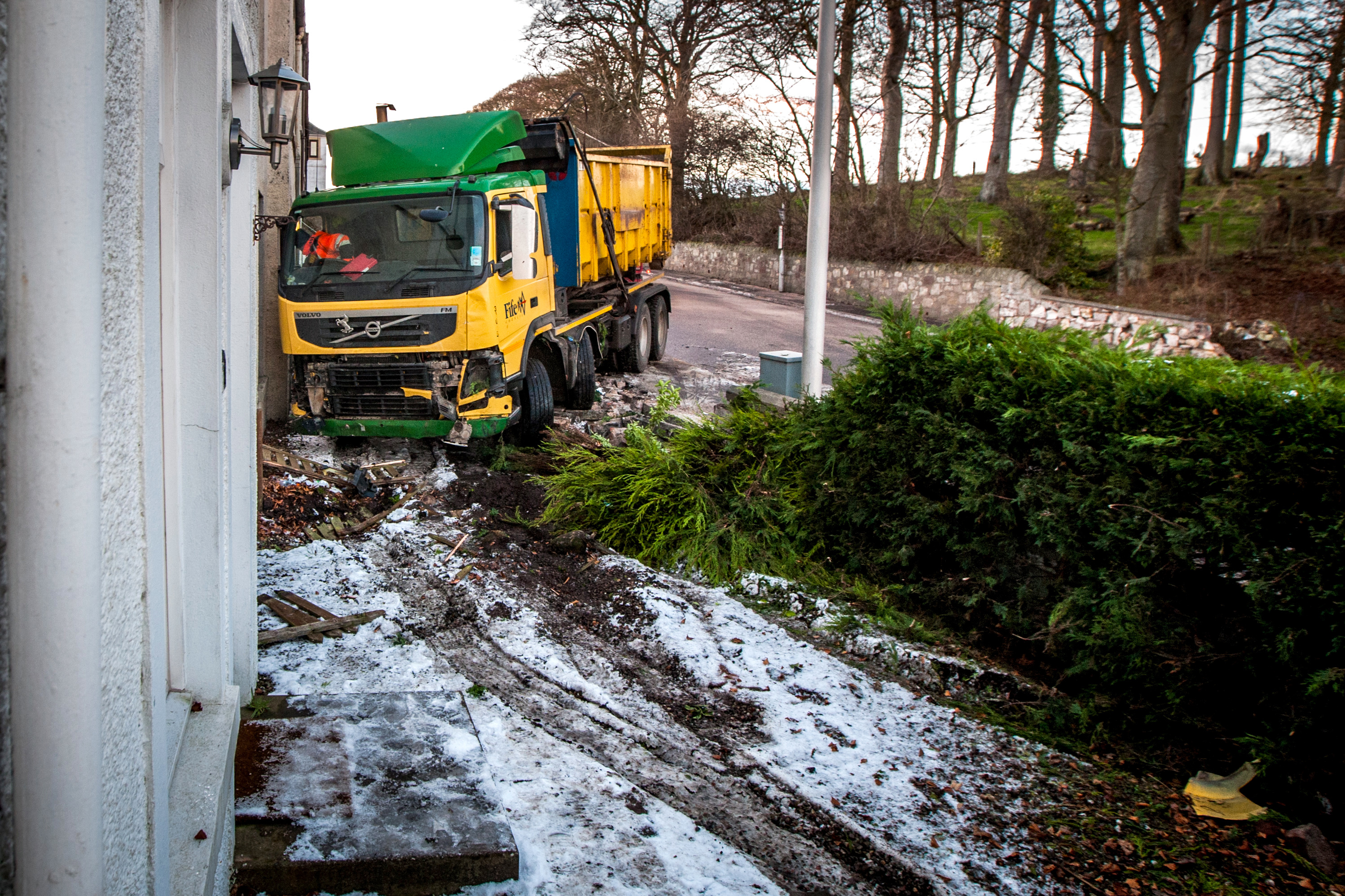 The council skip lorry crashed into vehicles and property in Guardbridge