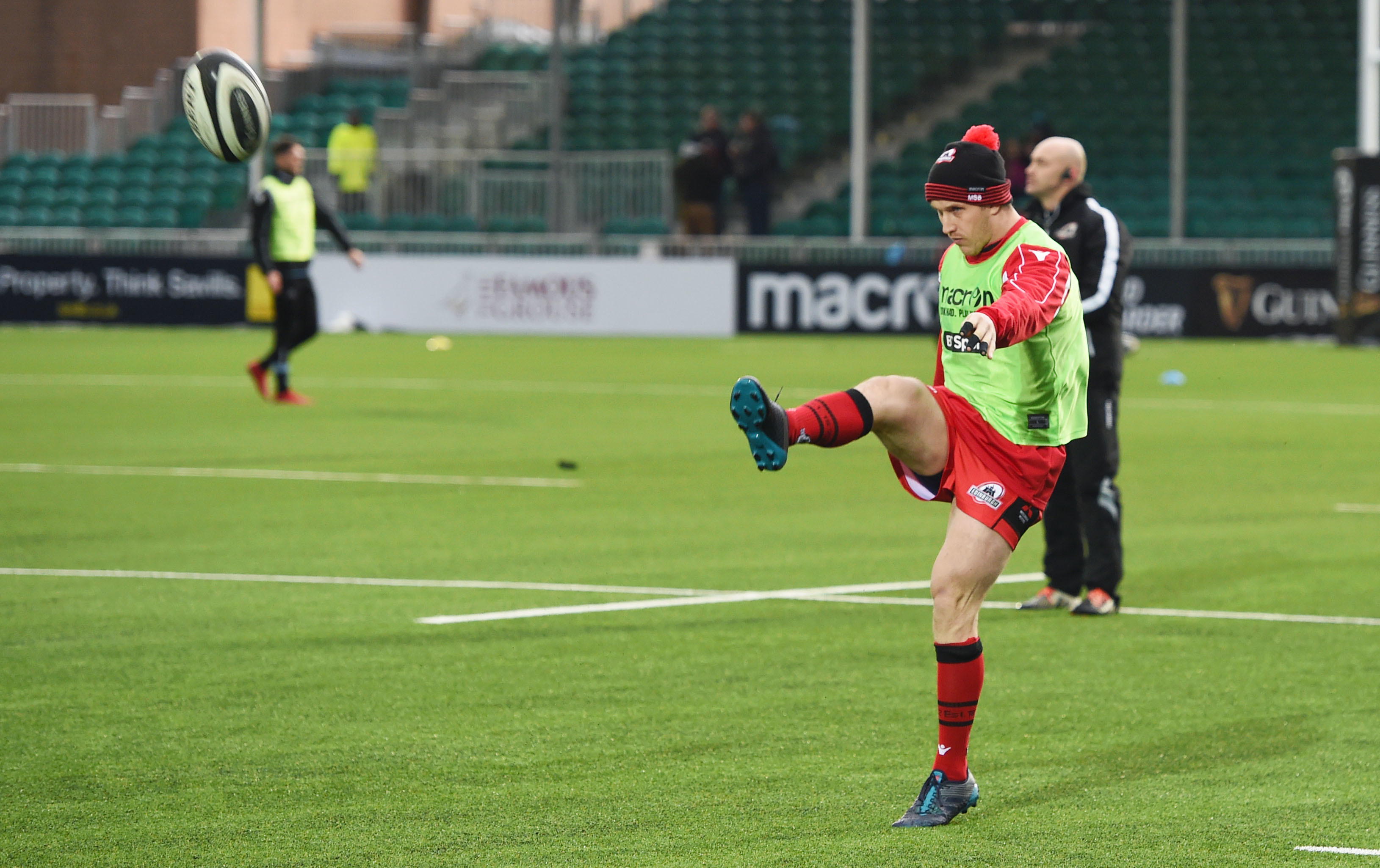 Mark Bennett gets in some kicking practice during training with Edinburgh at Myreside.