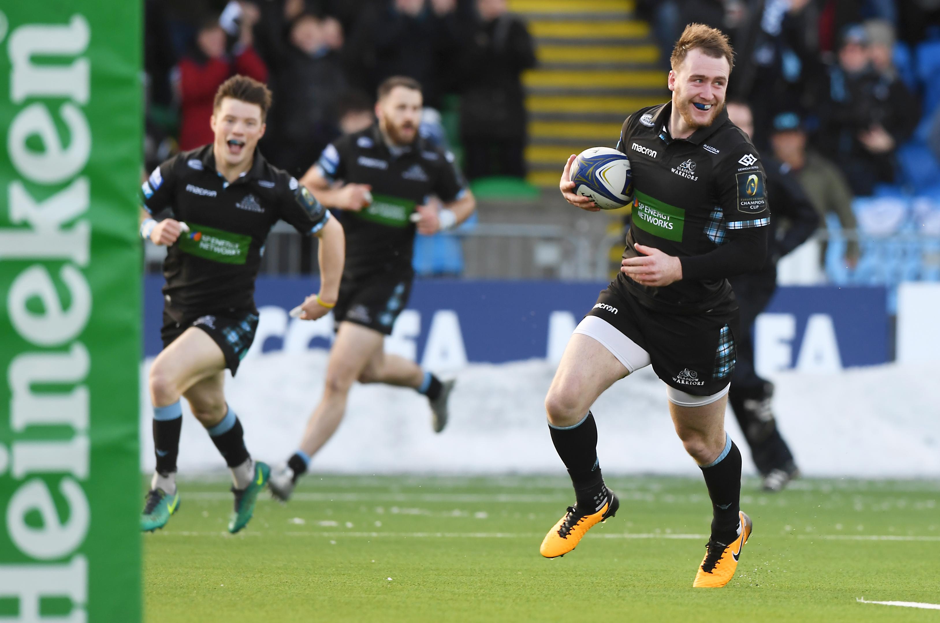 Stuart Hogg strolls in with the opening try at Scotstoun.