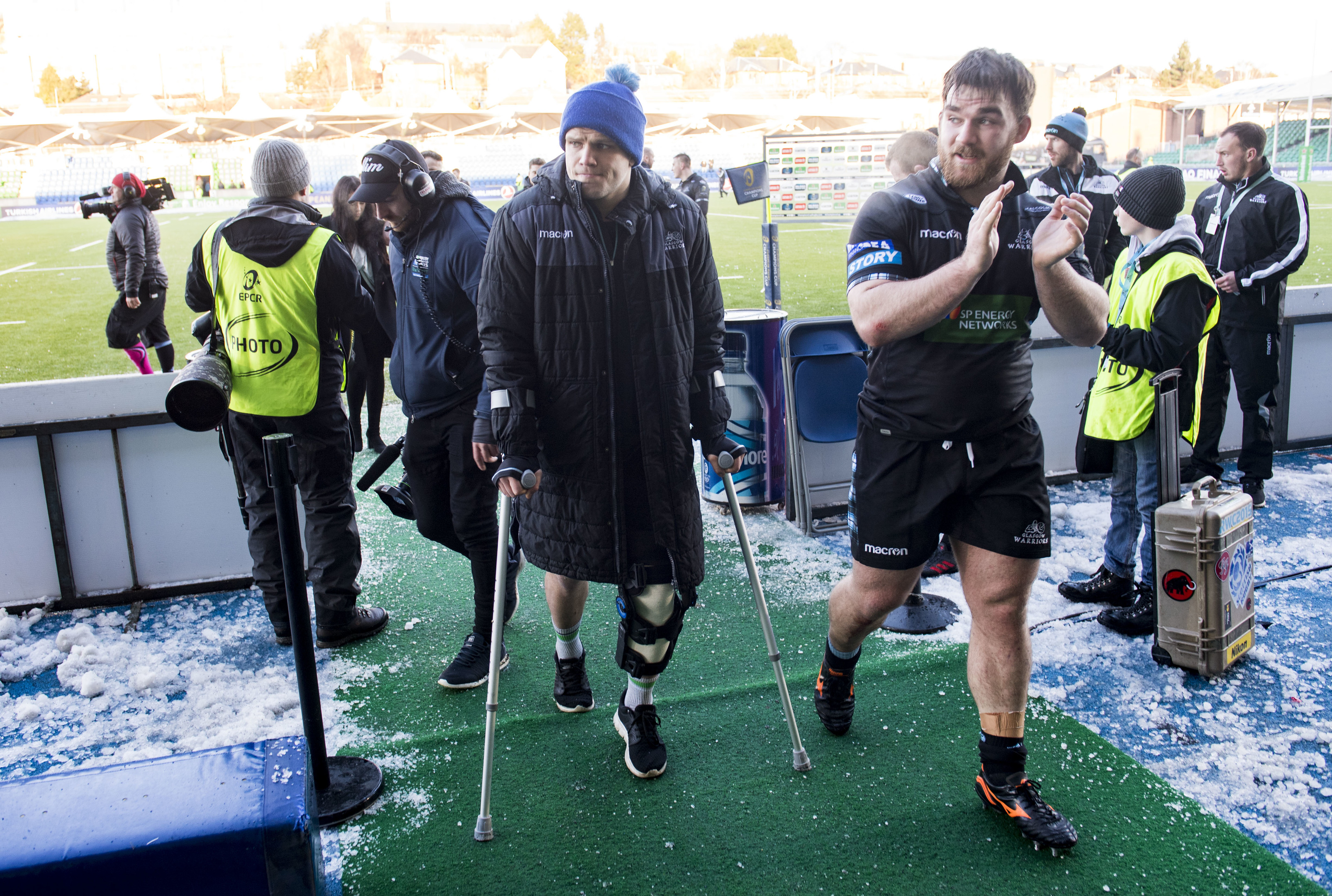 George Turner was on crutches after his injury on Saturday and is out for eight weeks.