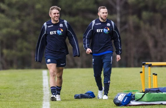 Chris Harries (left) and Byron McGuigan are in the backline for Scotland in Cardiff.