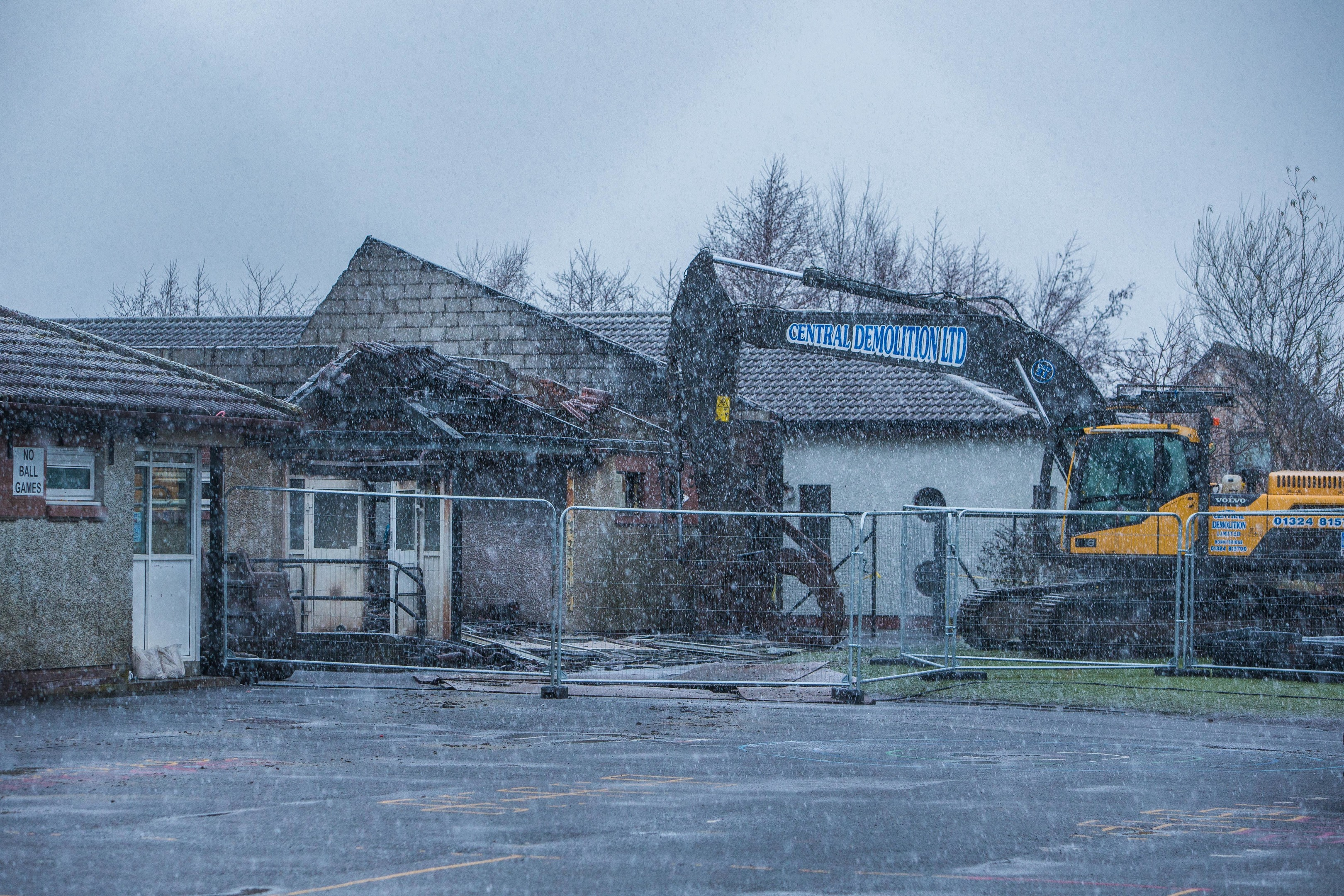 The scale of the damage caused by the fire at Cairneyhill Primary School was evident as the affected buildings were demolished.