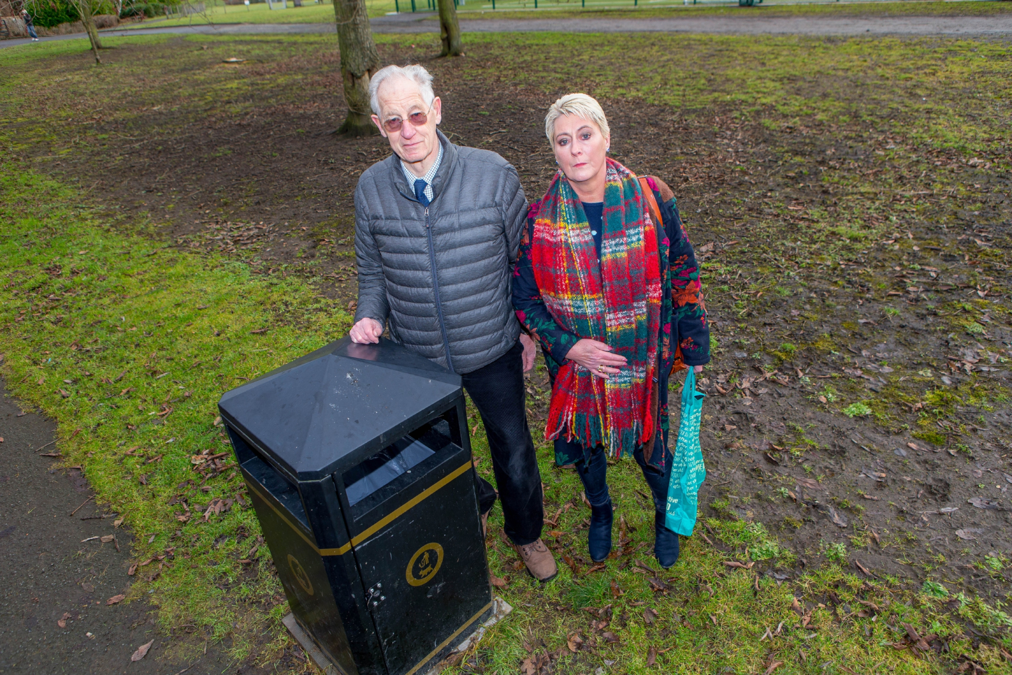 Community Council secretary David Taylor with councillor Rosemary Liewald at one of the newly installed multi-use bins in the park.