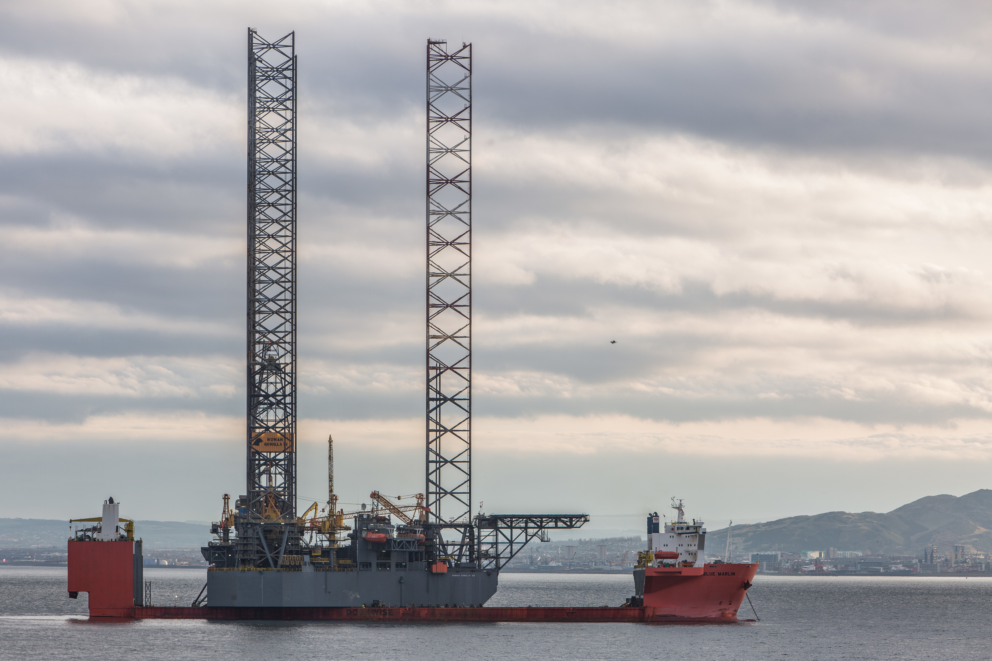 The ship MV Blue Marlin at anchor in the Firth of Forth.