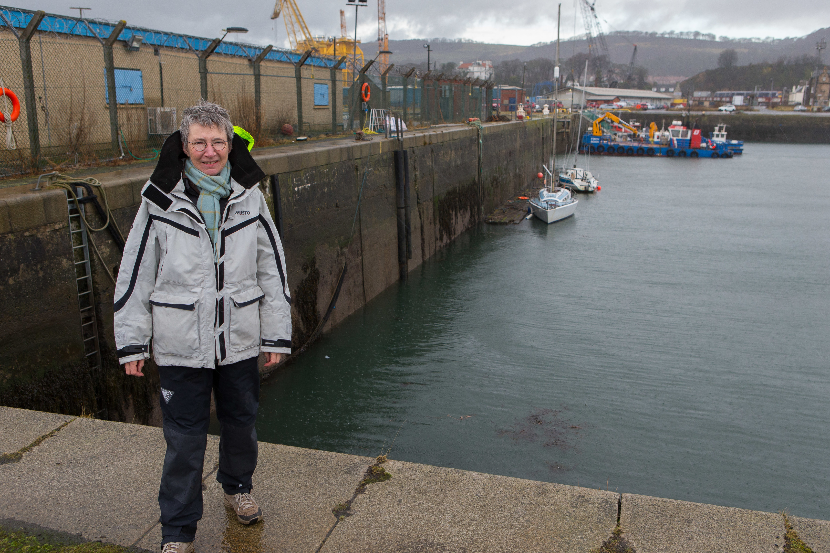 Commodore Sarah Price at the East Dock where pontoons are to be installed for Burntisland Sailing Club